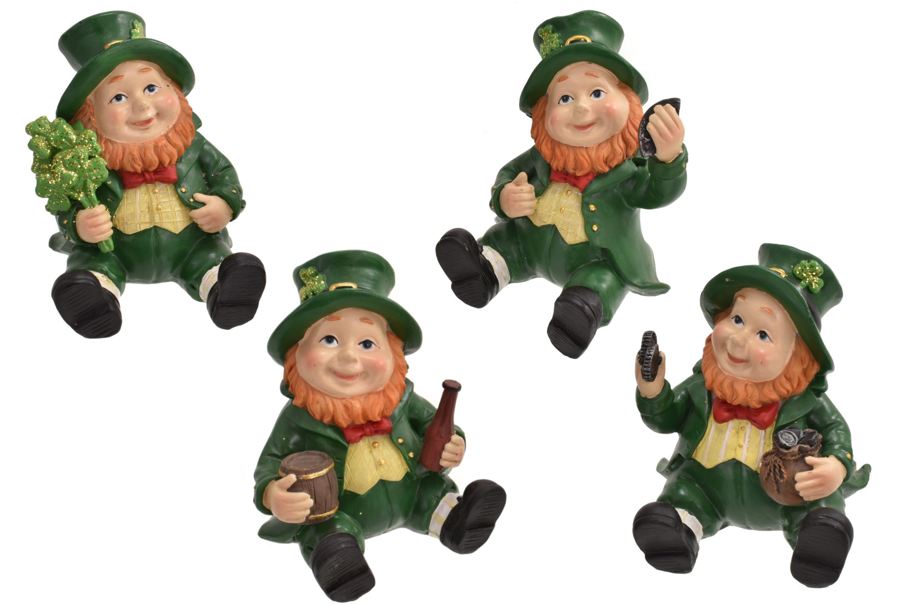 Polyresin Laying Leprechaun Figurines 4 Asst Designs