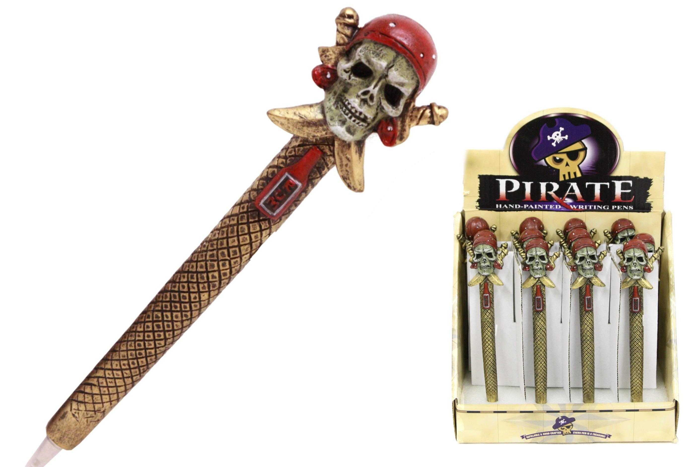 Pirate Skull Polyresin Pens In Display Box