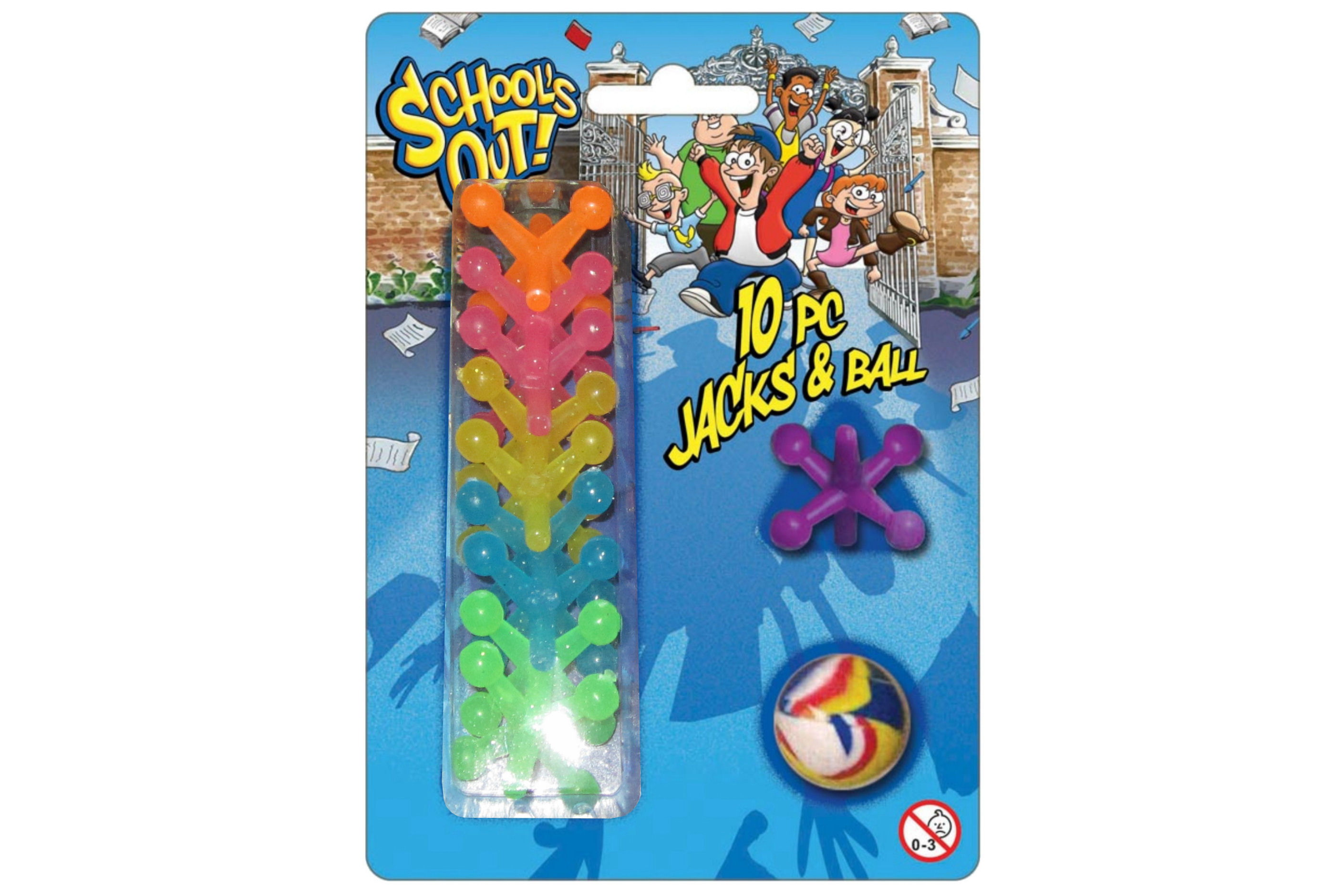 """10pc Jacks & Ball On Blistercard """"Schools Out"""""""