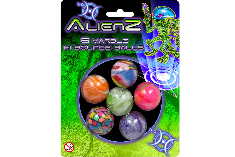 "6pc Marble Bounce Balls On Blistercard ""Alienz"""