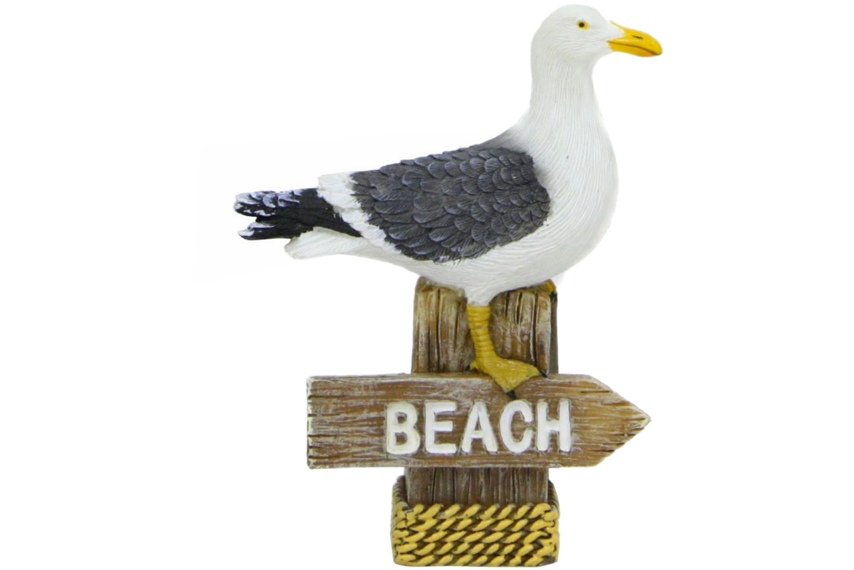 Resin Seagull On Small Beach Sign 6.5 x 2.5 x 8.5cm