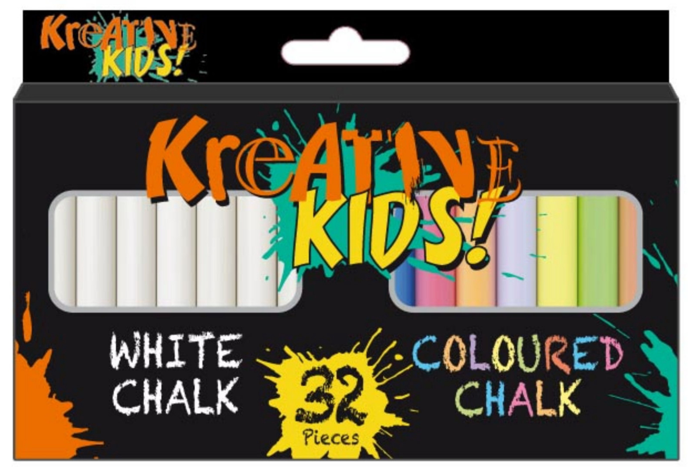 32pc Chalk (16pc White 16pc Coloured) Kreative Kids