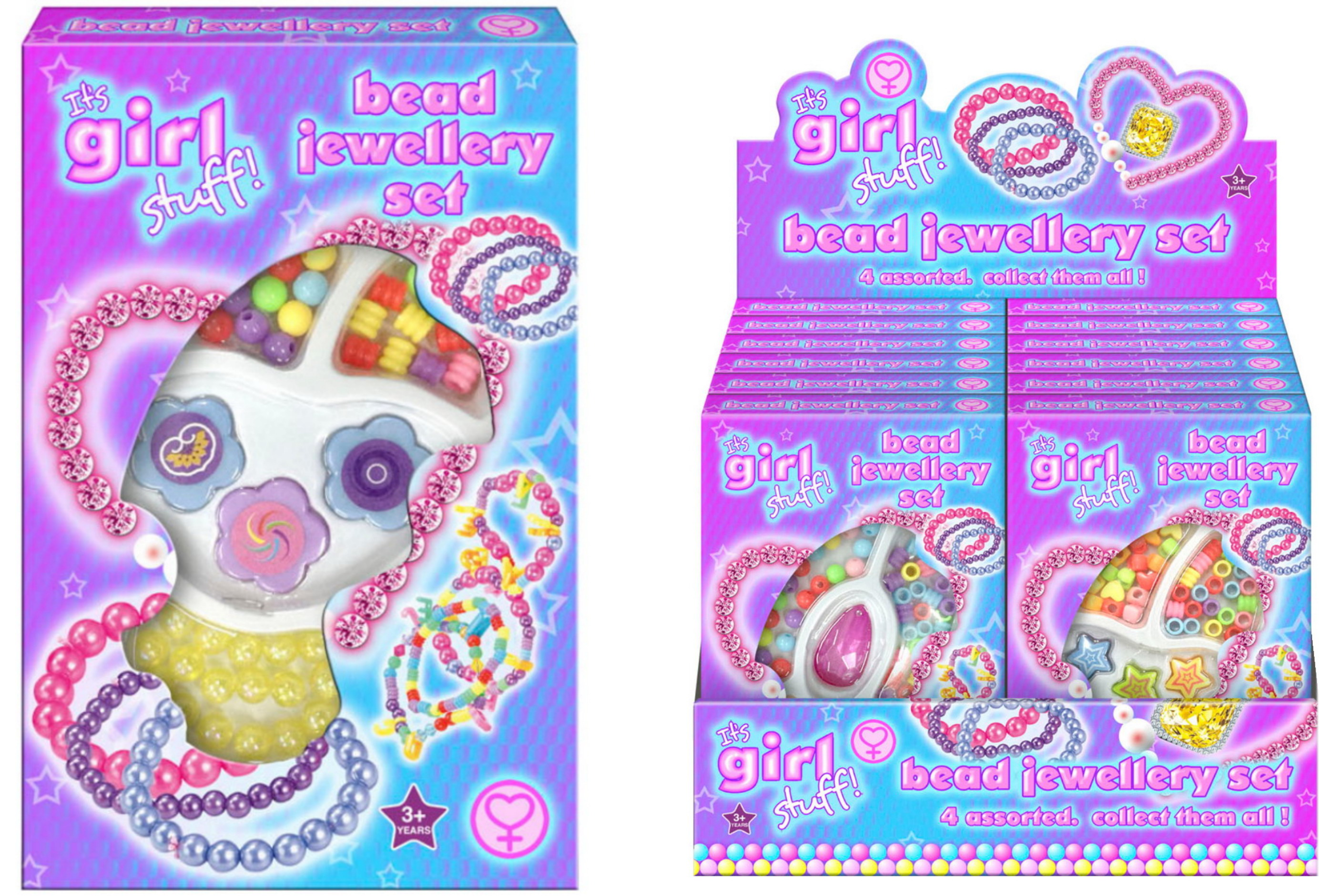 "Bead Jewellery Set 4 Assorted ""It's Girl Stuff"""