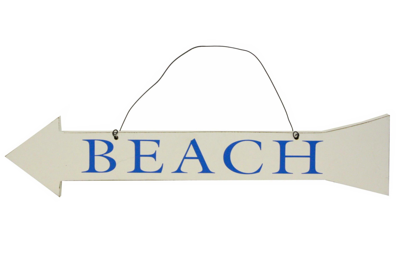 Wooden Beach Sign Arrow 50cm
