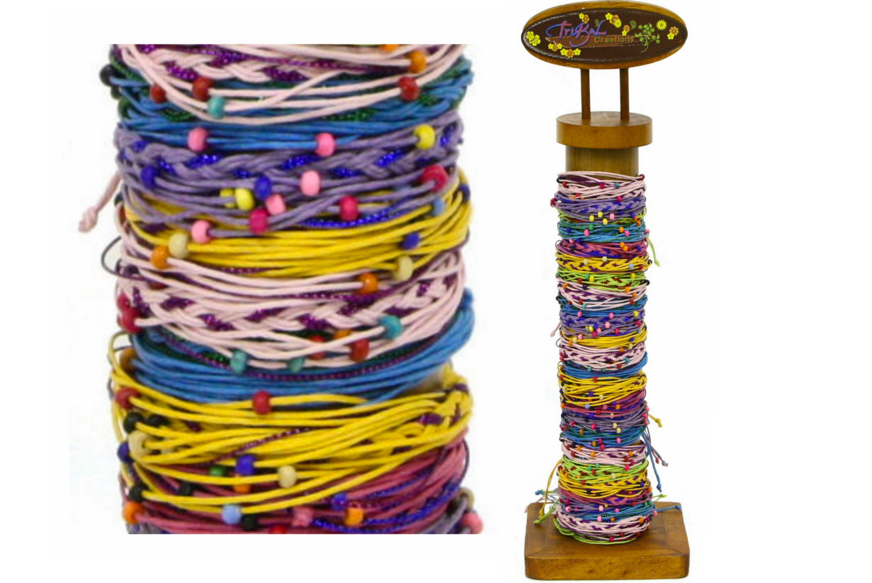 Friendship Bracelet Multi Strand Wood Bead On Stand