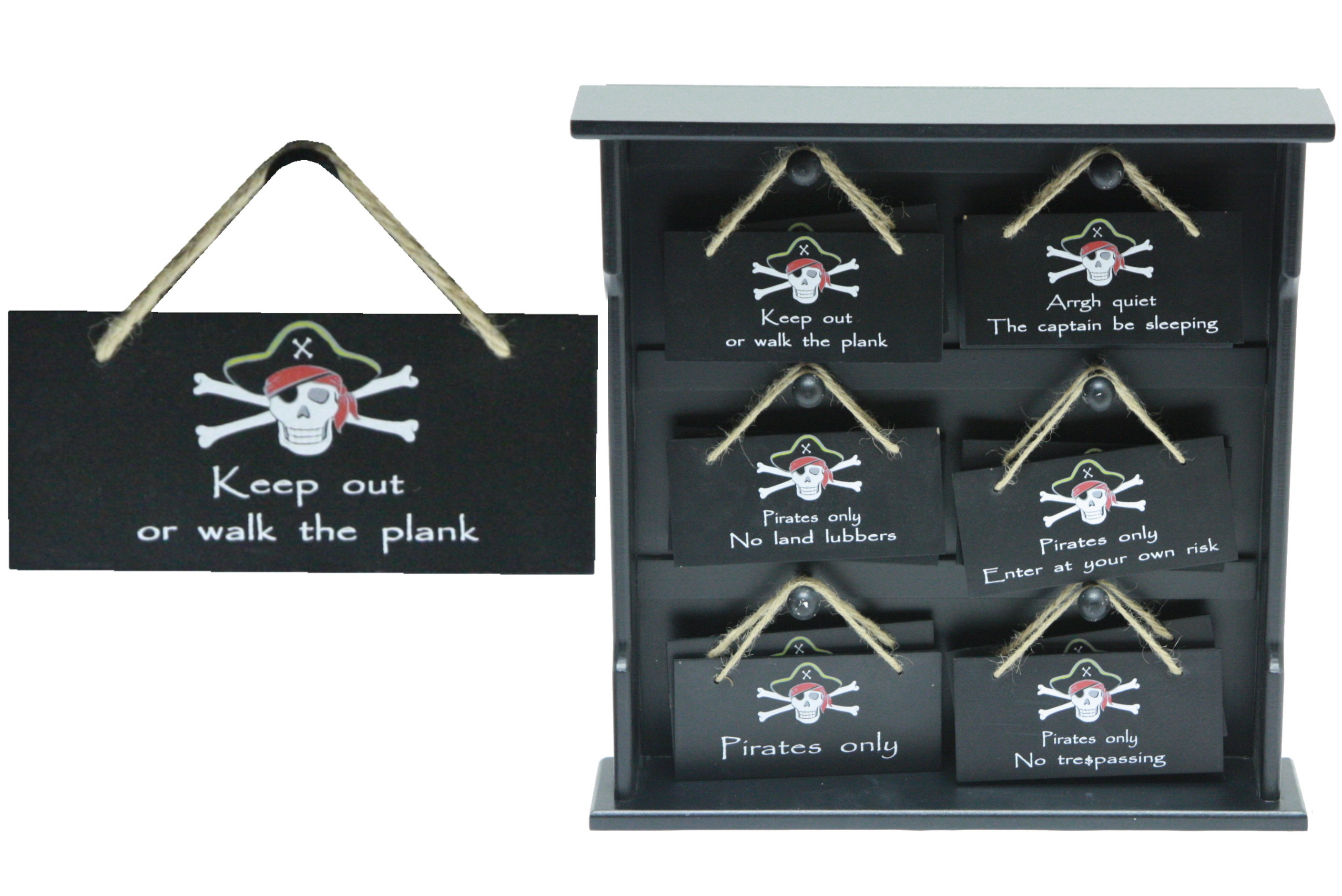 Pirate Wooden Plaque (6 Assorted) On Display Stand