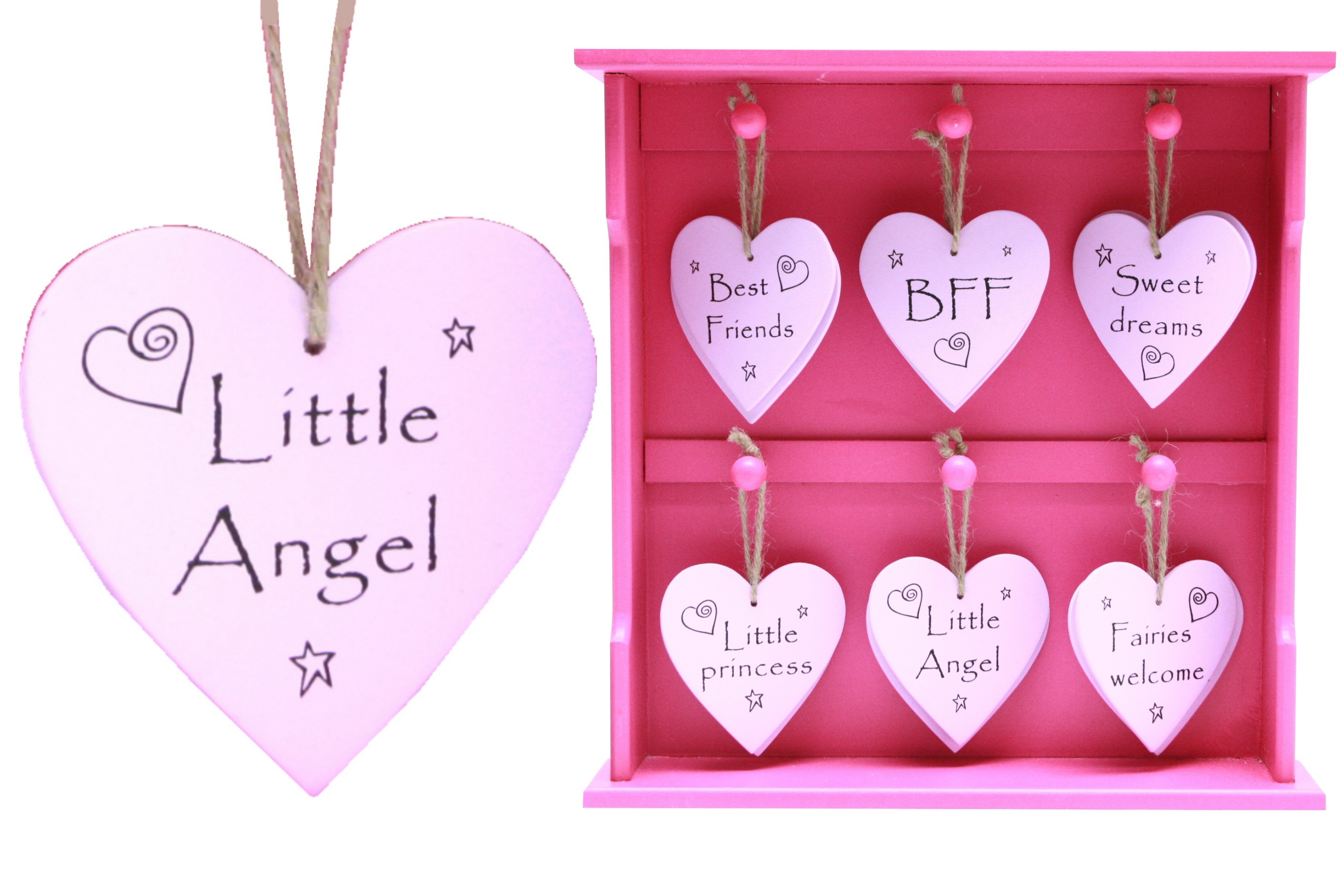 9cm Pink Wood Heart Hanger On Display Stand