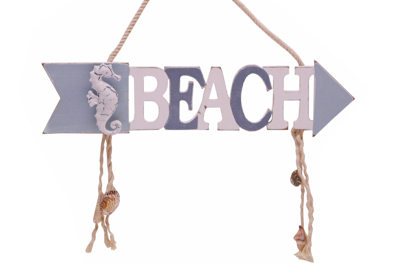 30cm Wooden Beach Arrow Hanging Sign