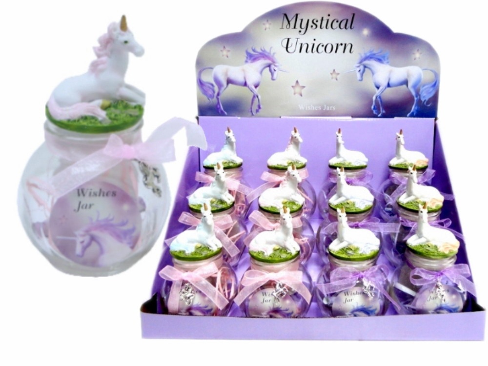 Unicorn On Glass Wishing Jar (4 Assorted) In Display Bx