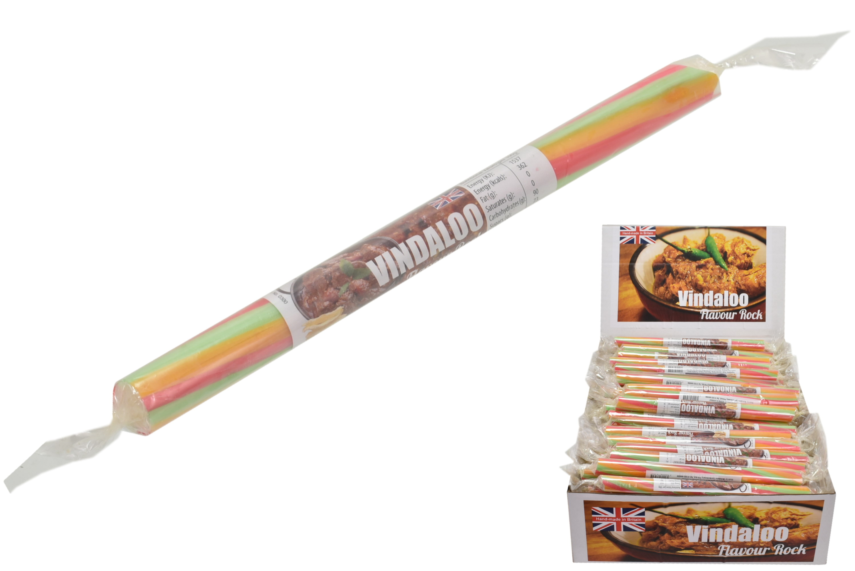 Vindaloo Flavoured Rock Sticks In Display Box