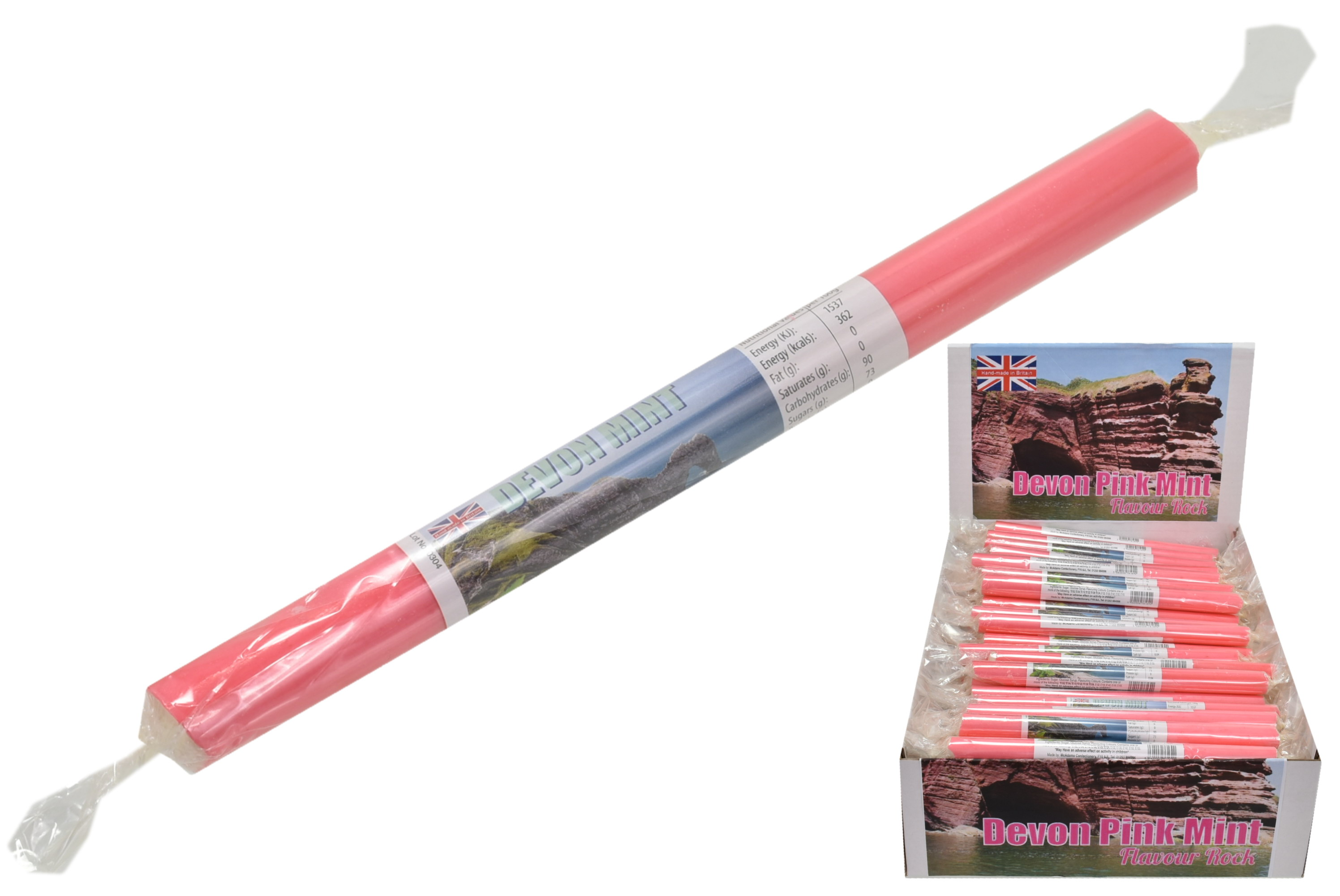 Devon Pink Mint Flavoured Rock Sticks In Display Box