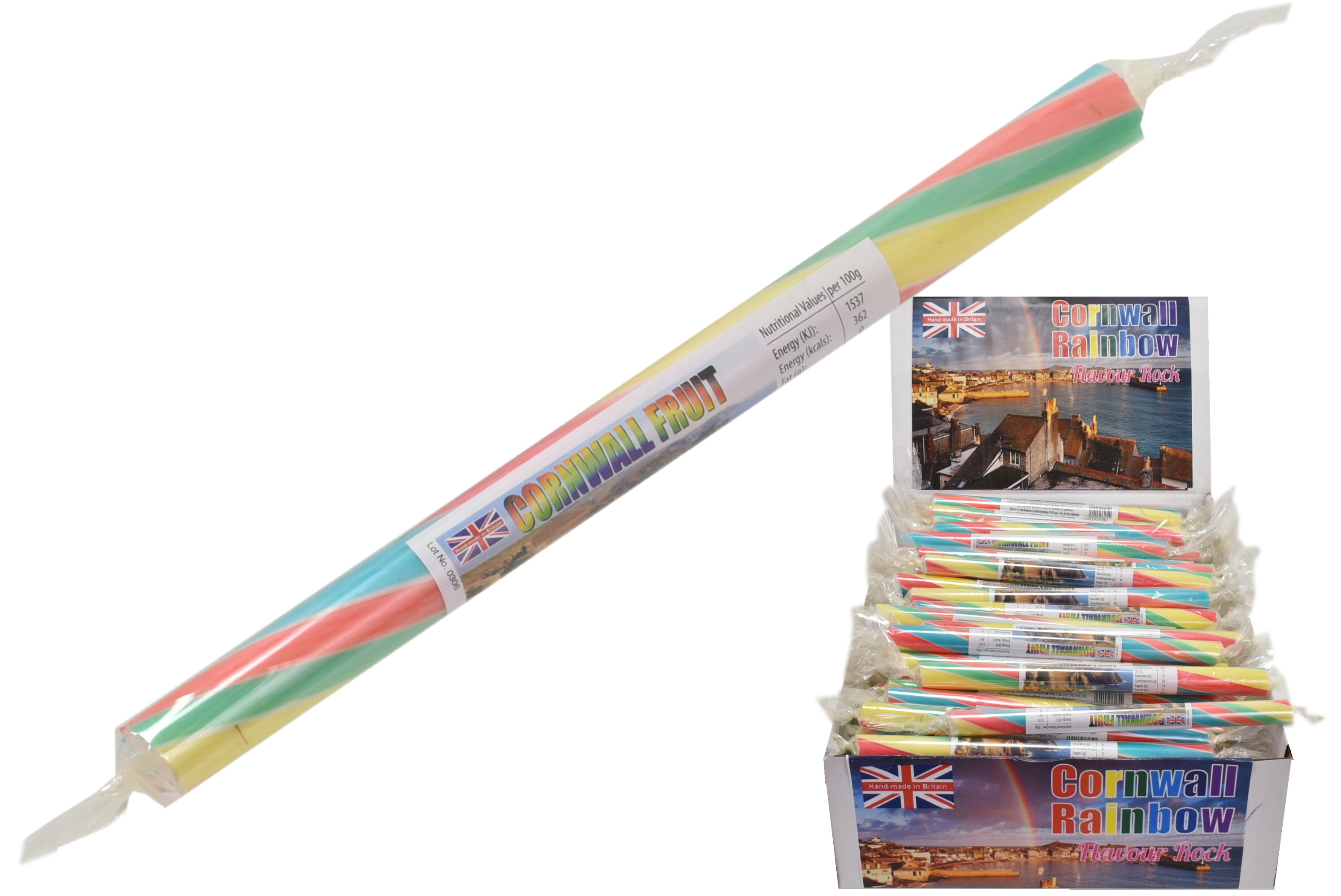 Cornwall Rainbow Flavoured Rock Sticks In Display Box