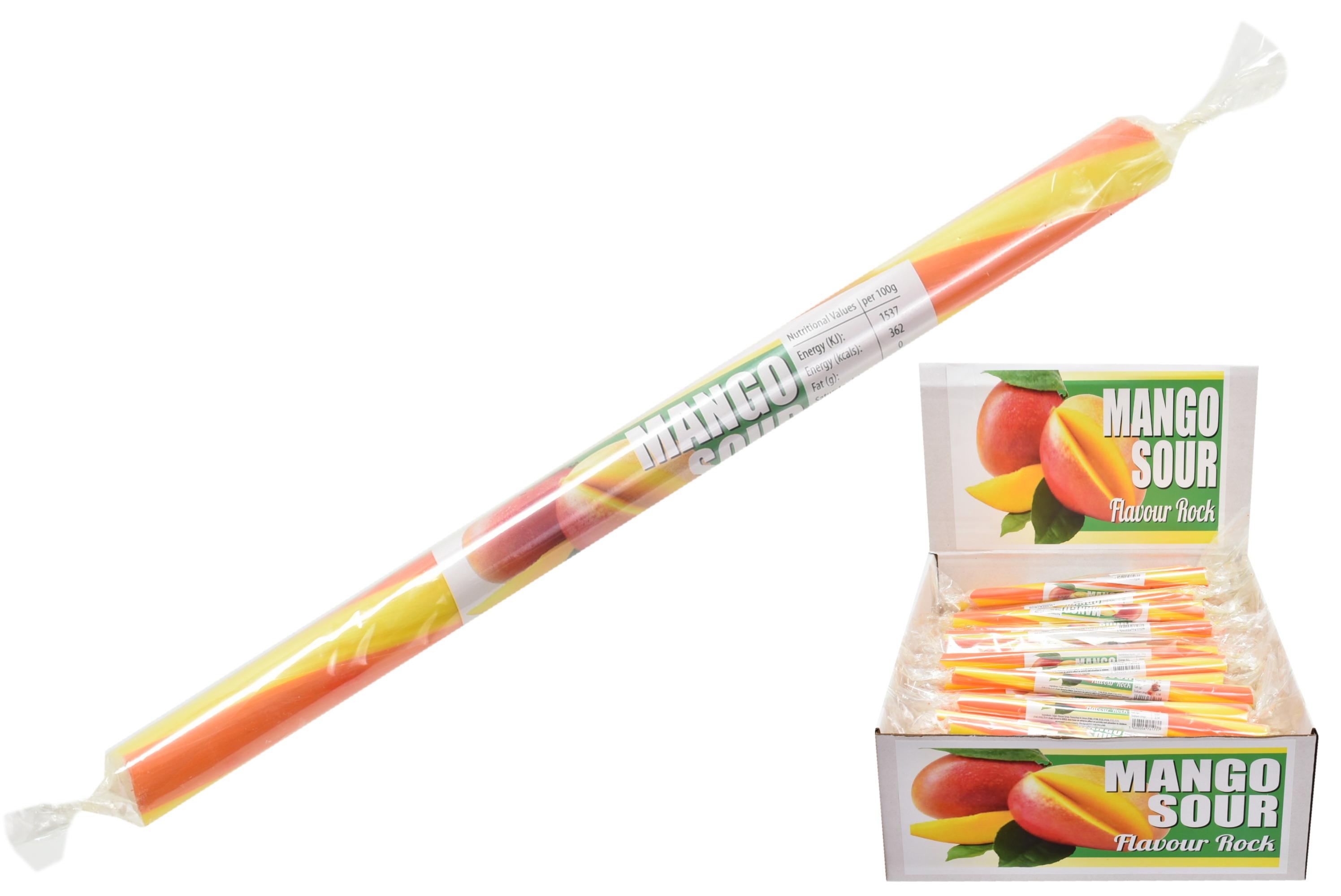 Mango Sour Flavoured Rock Sticks In Display Box