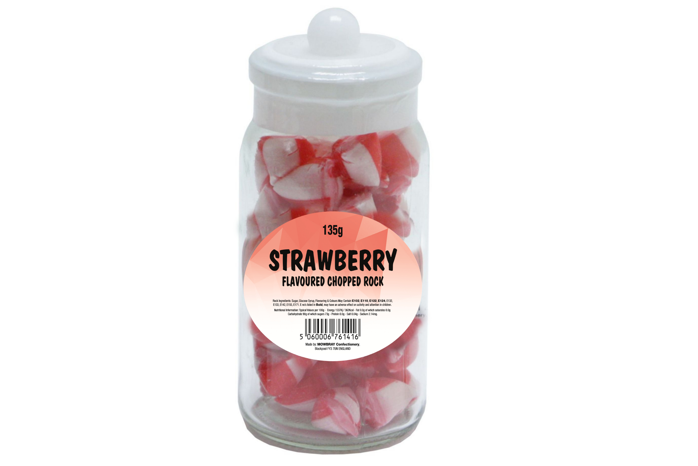 Strawberry Flavoured Chopped Rock - Glass Jar
