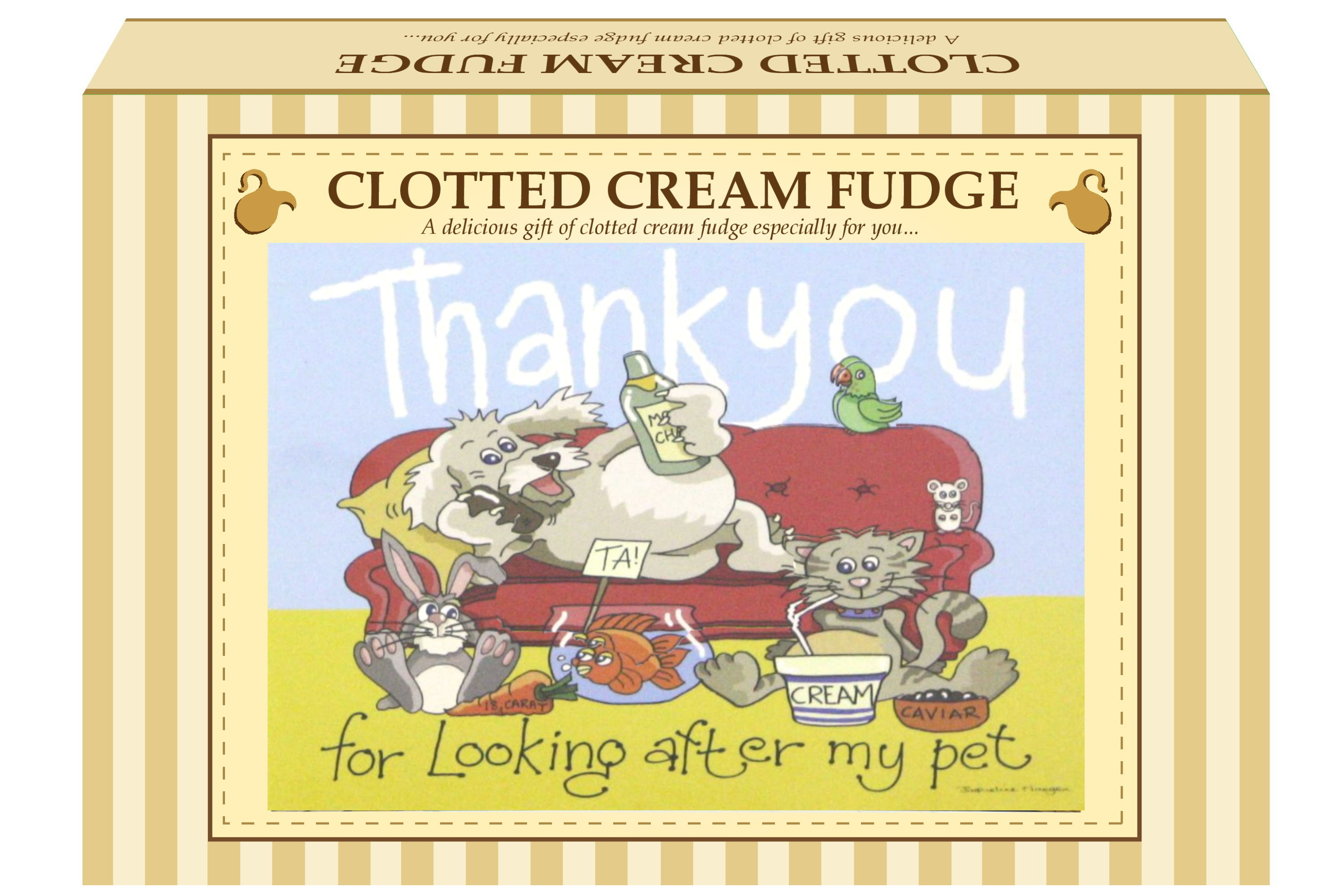 "200g Clotted Cream Fudge ""Pet"" Postcard Gift Box"