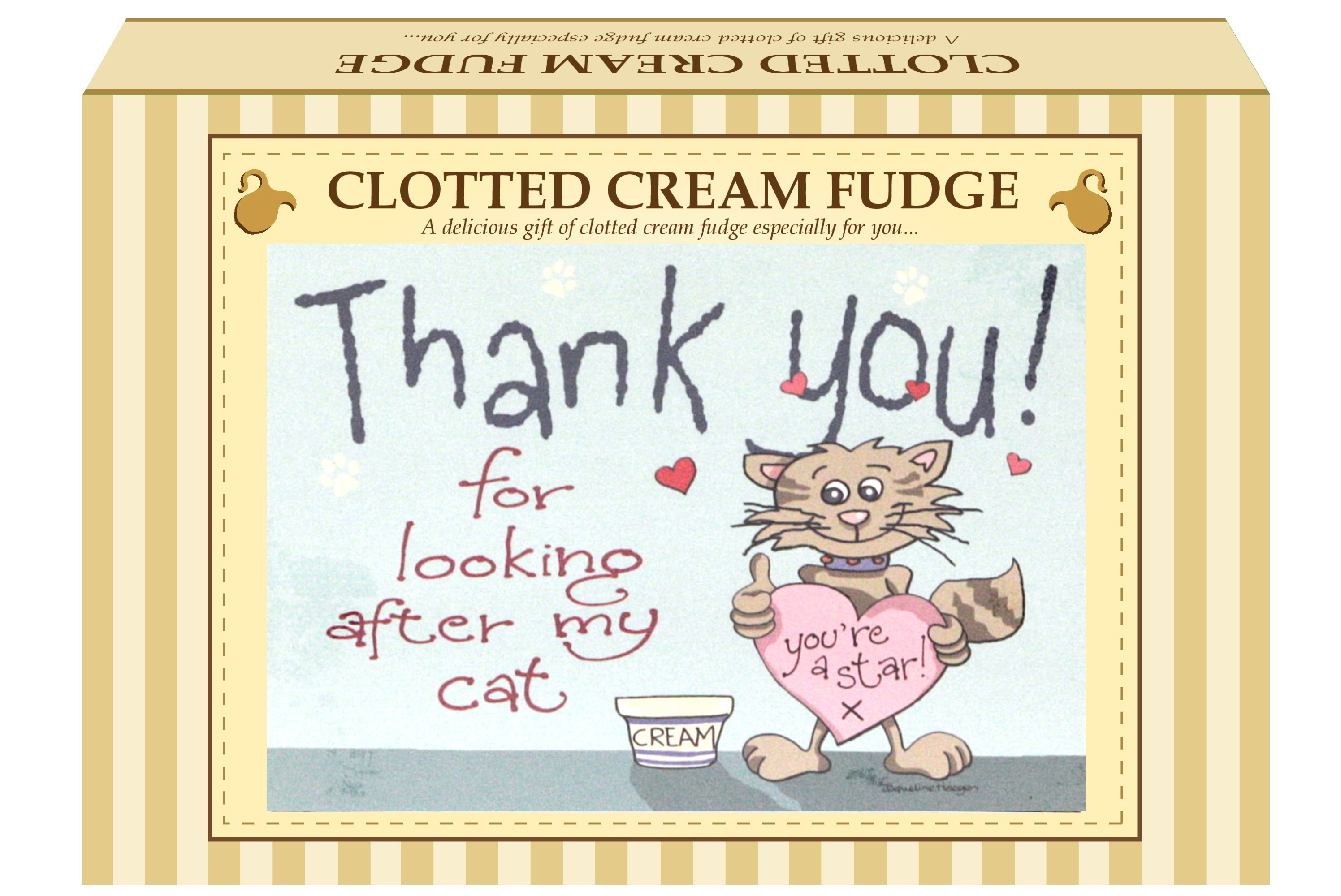 "200g Clotted Cream Fudge ""Cat"" Postcard Gift Box"