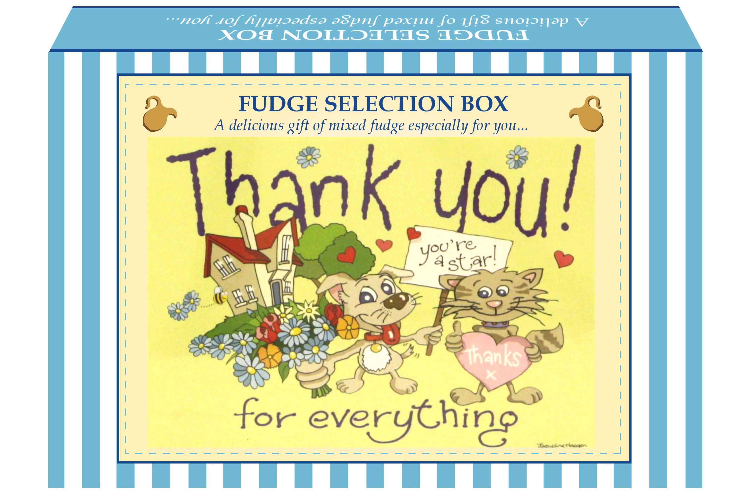 "200g Mixed Fudge ""Thank You"" Postcard Gift Box"