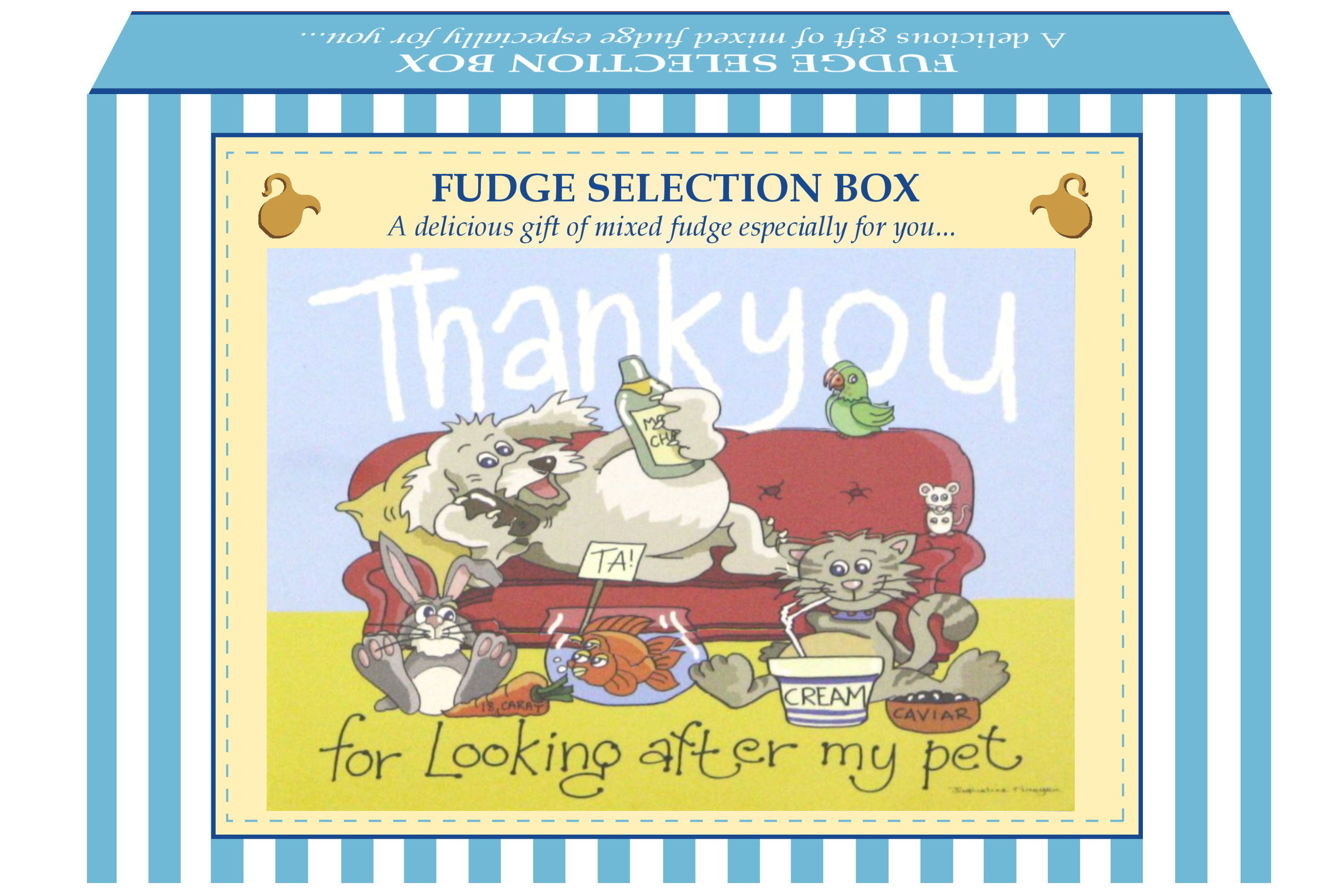 "200g Mixed Fudge ""Pet"" Postcard Gift Box"
