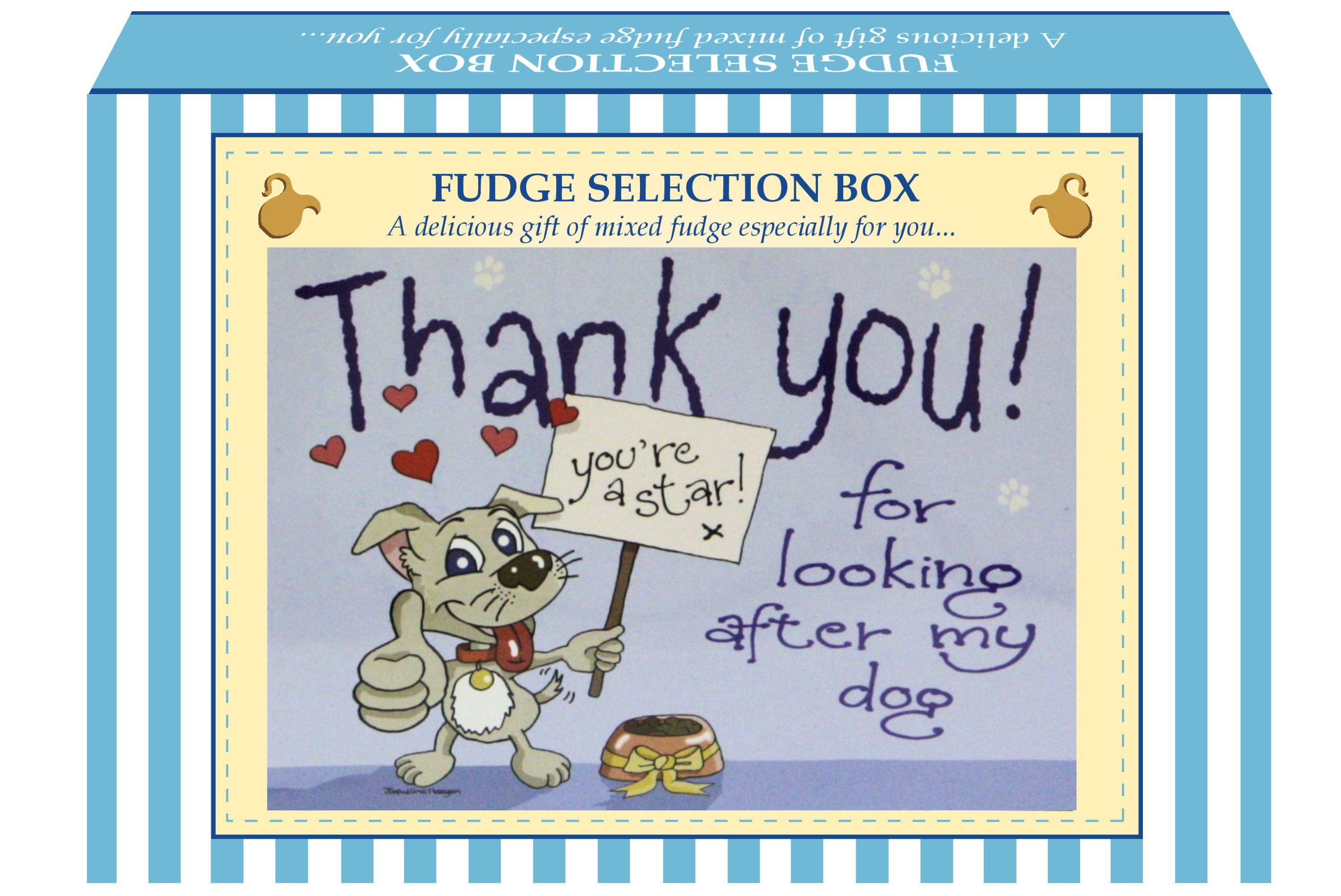 "200g Mixed Fudge ""Dog"" Postcard Gift Box"