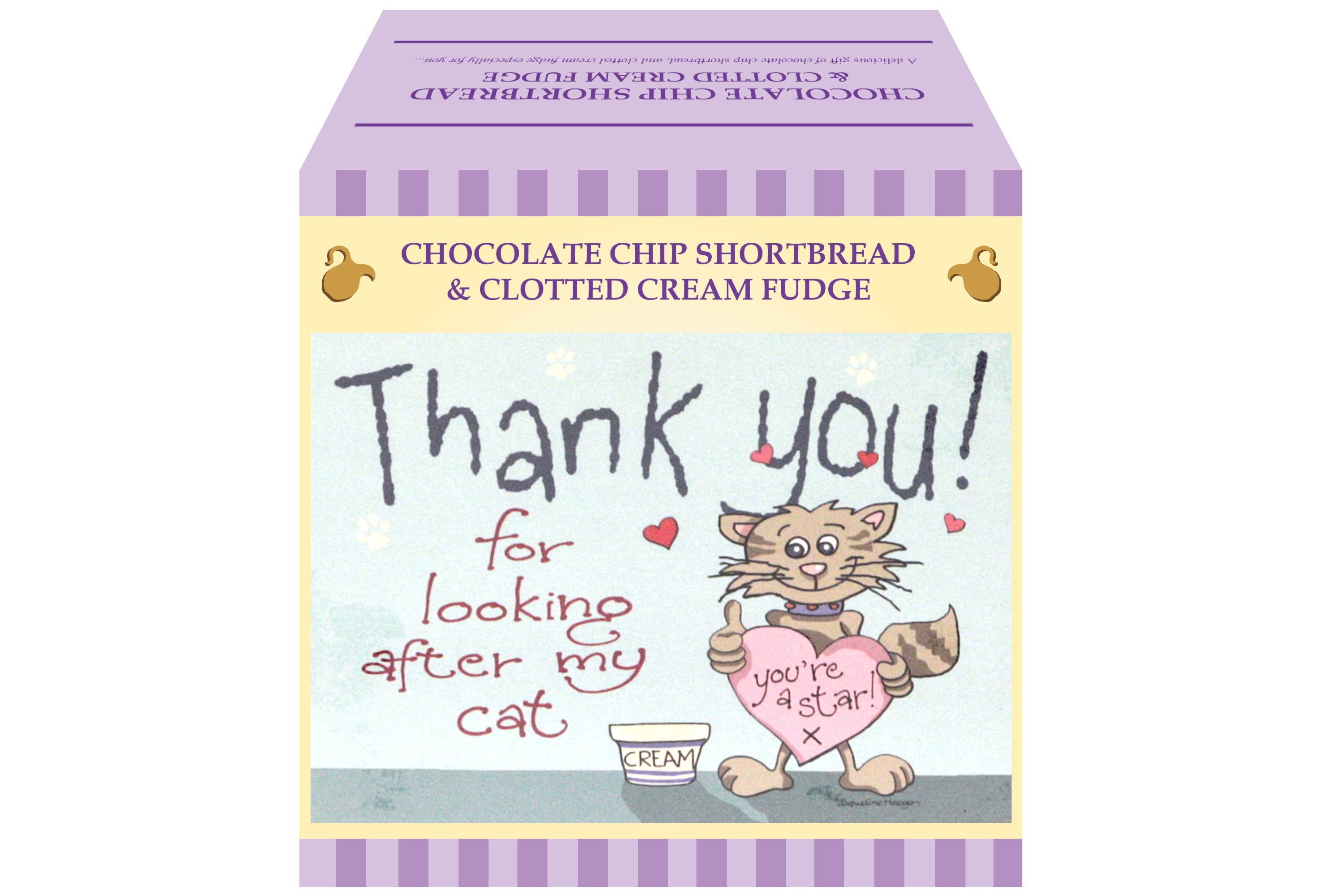 """250g Choc C/C Shortbread & C/C Fudge """"Cat"""" Gift Box"""