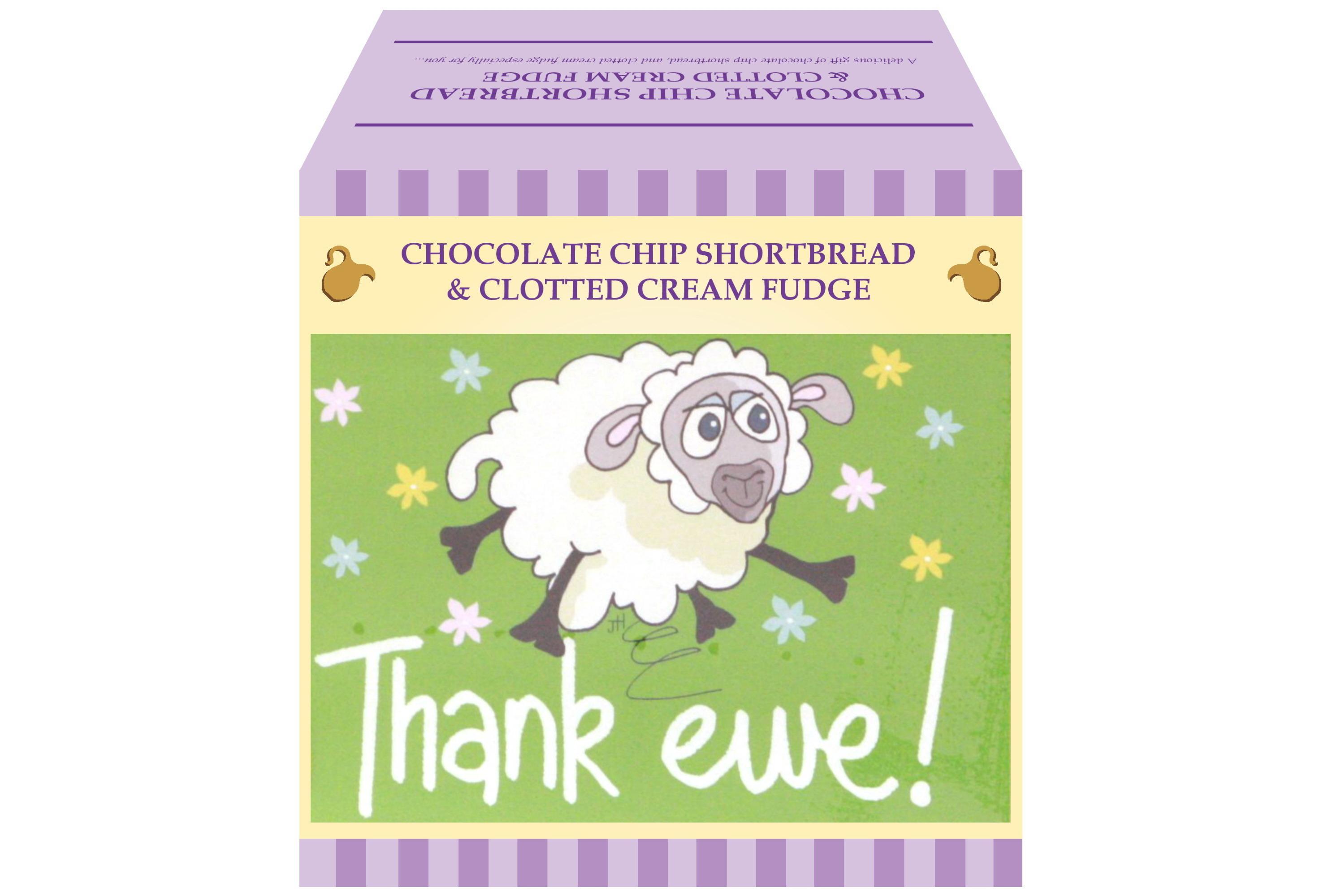 "250g Choc C/C Shortbread & C/C Fudge ""Thank Ewe"" G/Bx"