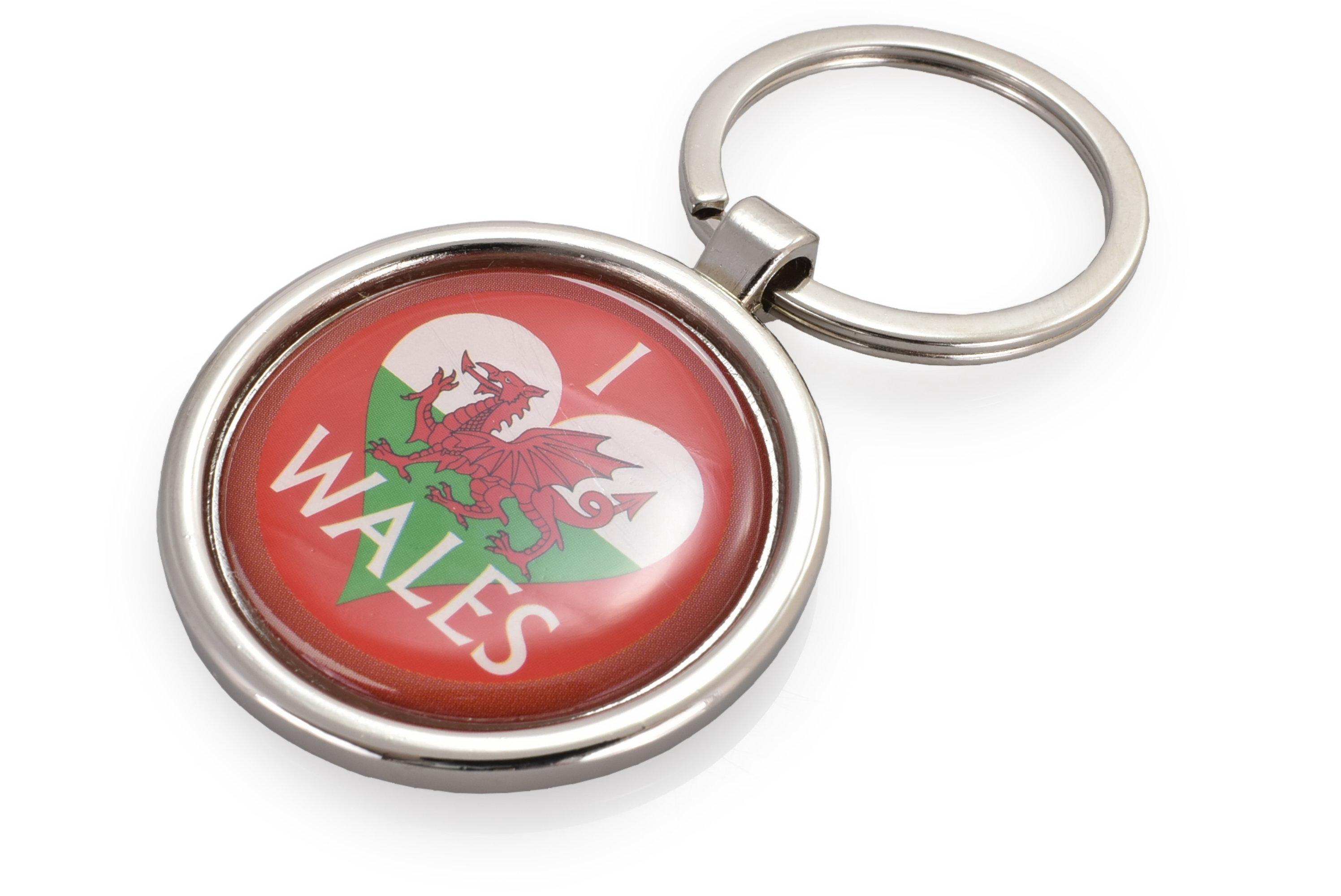 Metal Circle Keychain Wales Flag