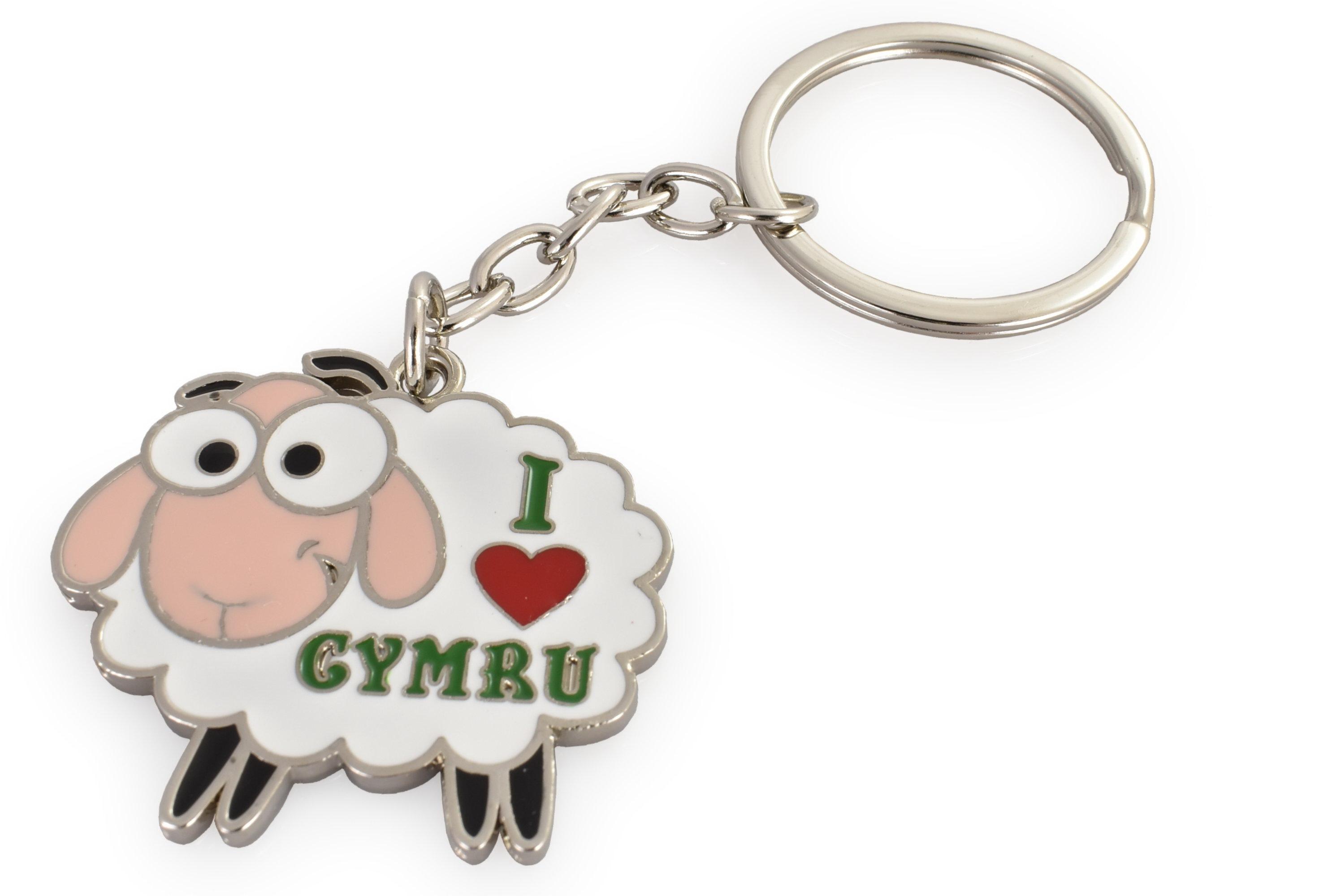 Metal Keyring Sheep I Love Wales
