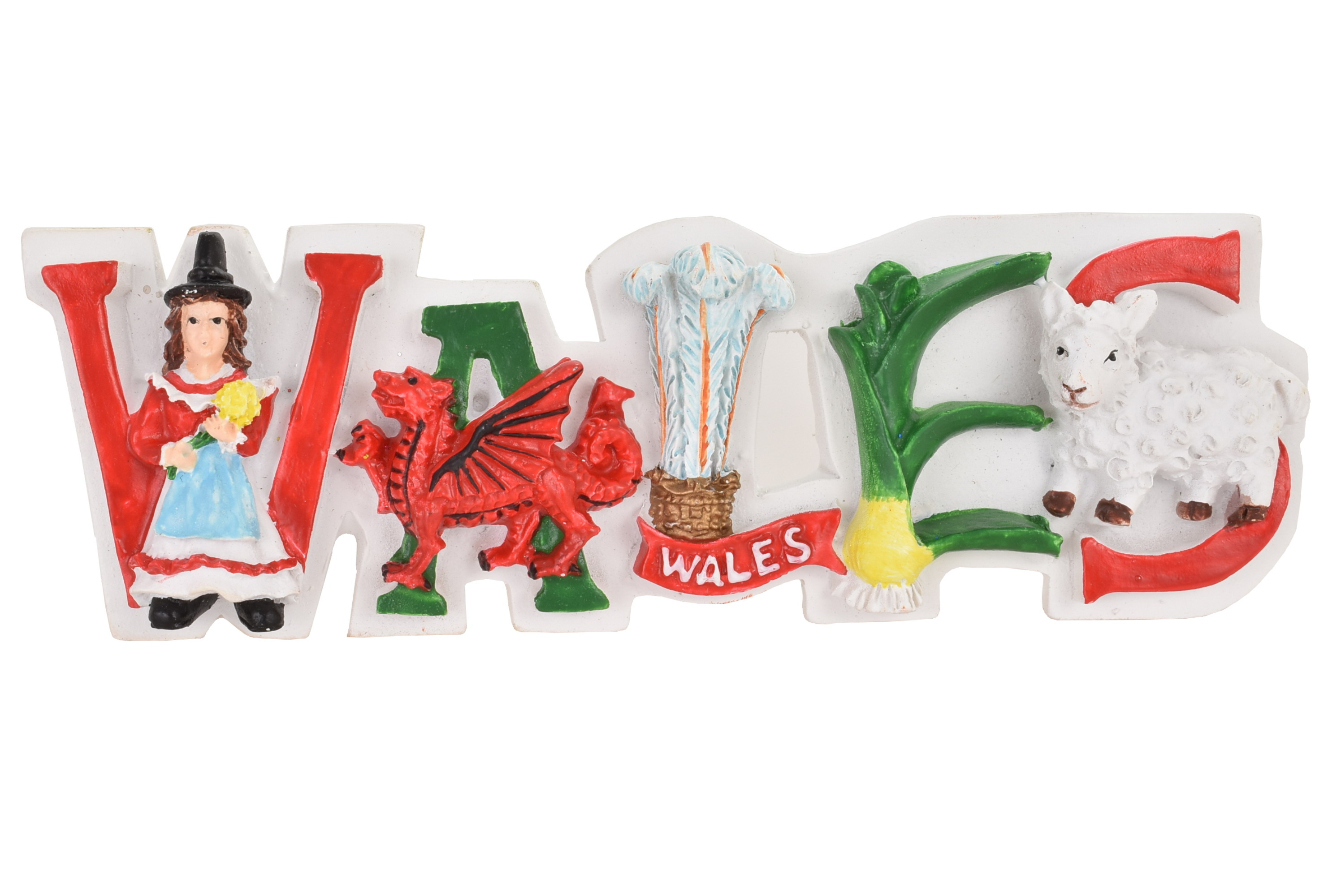 Wales Resin Magnet Letters White