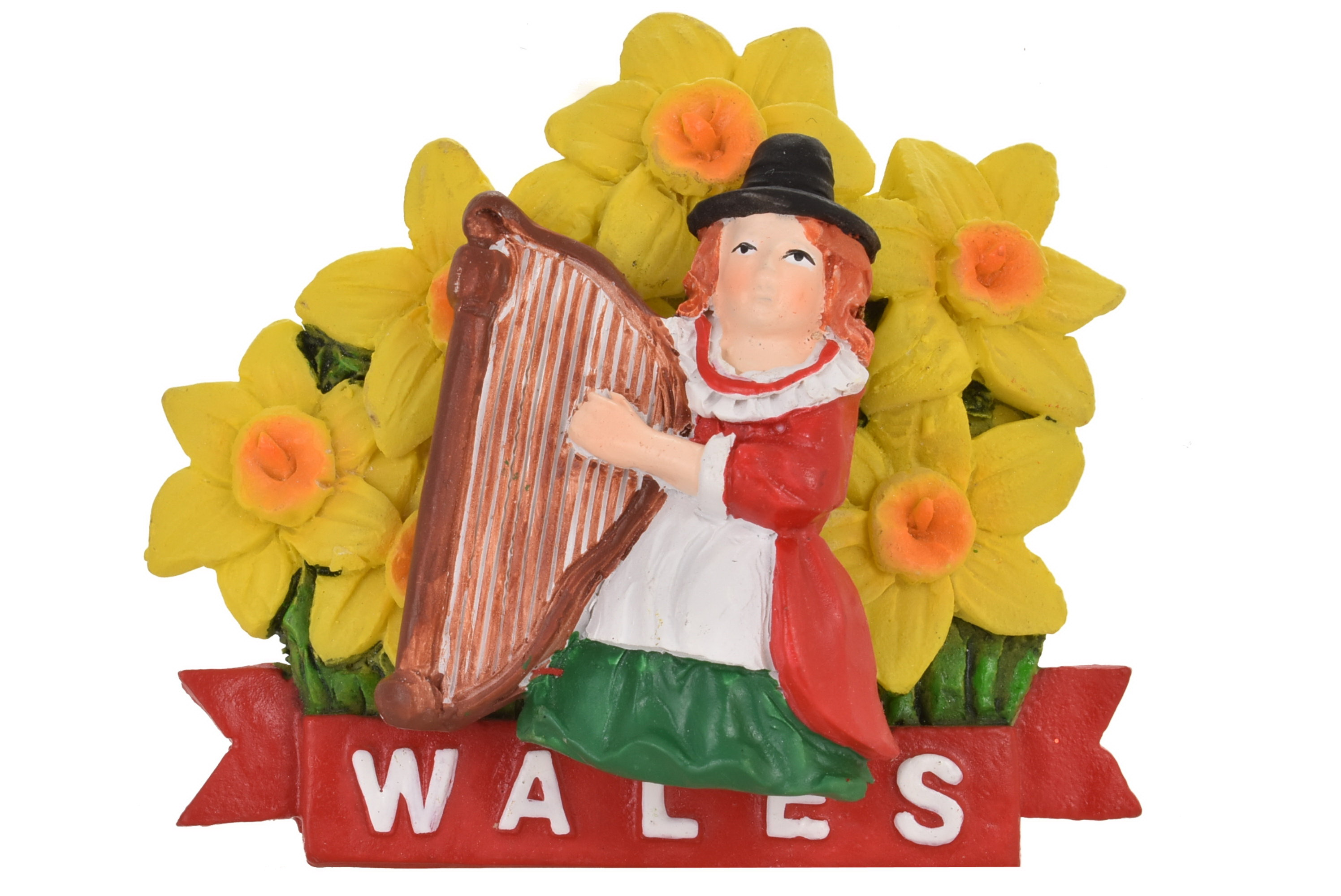 Wales Resin Magnet Lady Harp