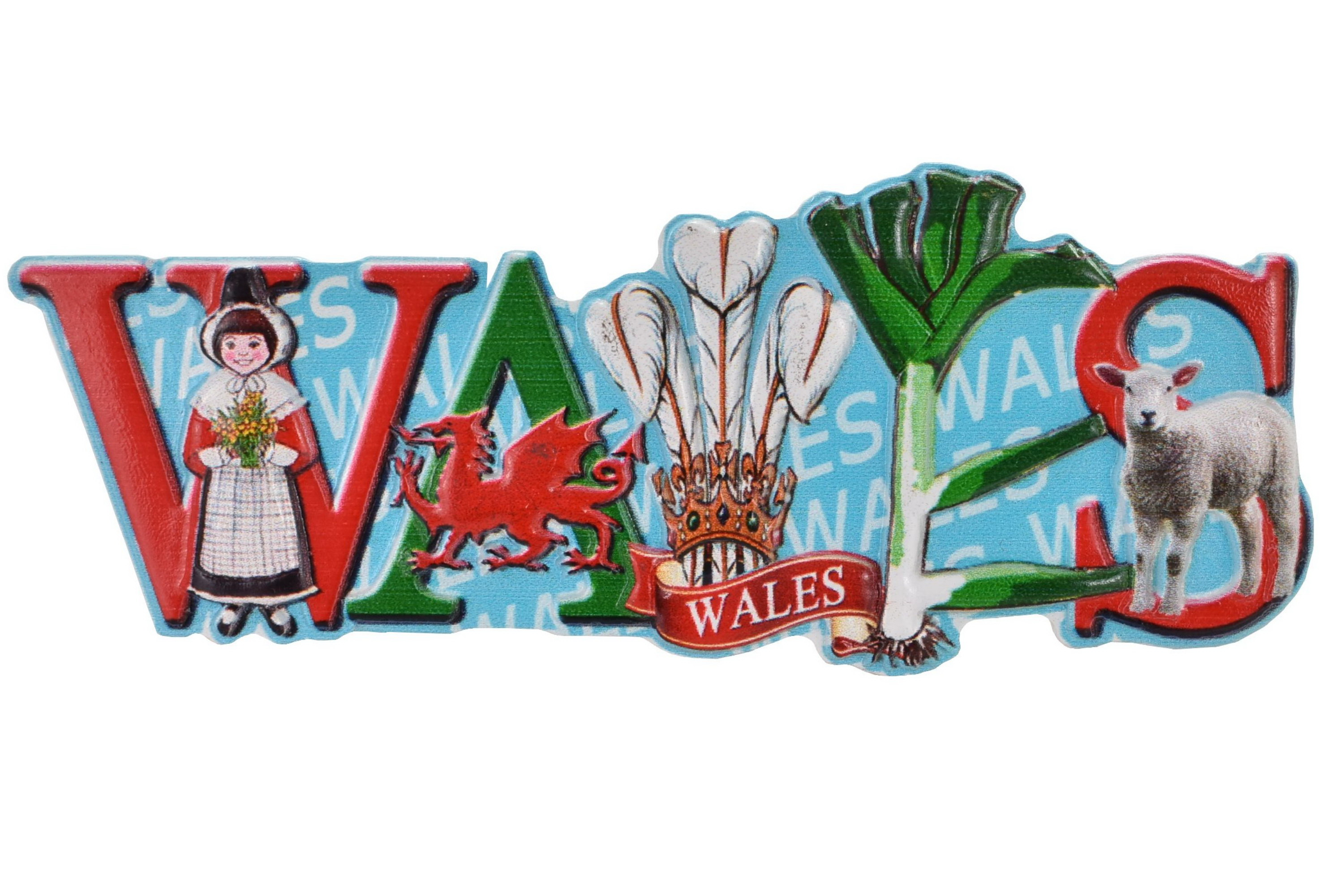 Wales Resin Magnet Printed Letters