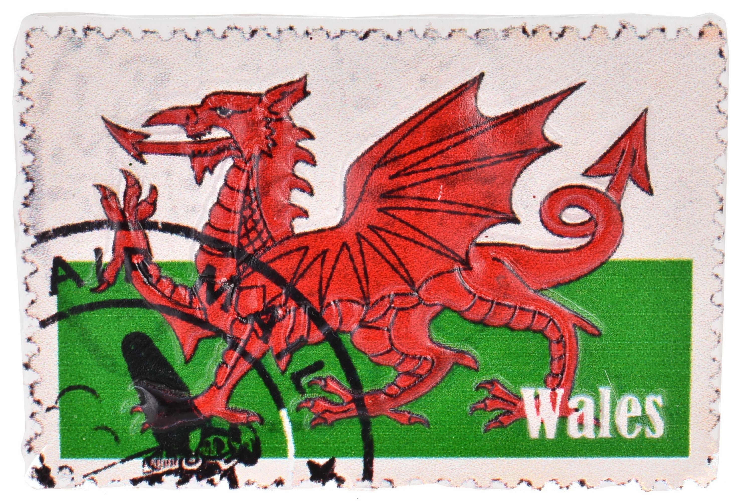 Wales Resin Magnet Flag Stamp Design Printed