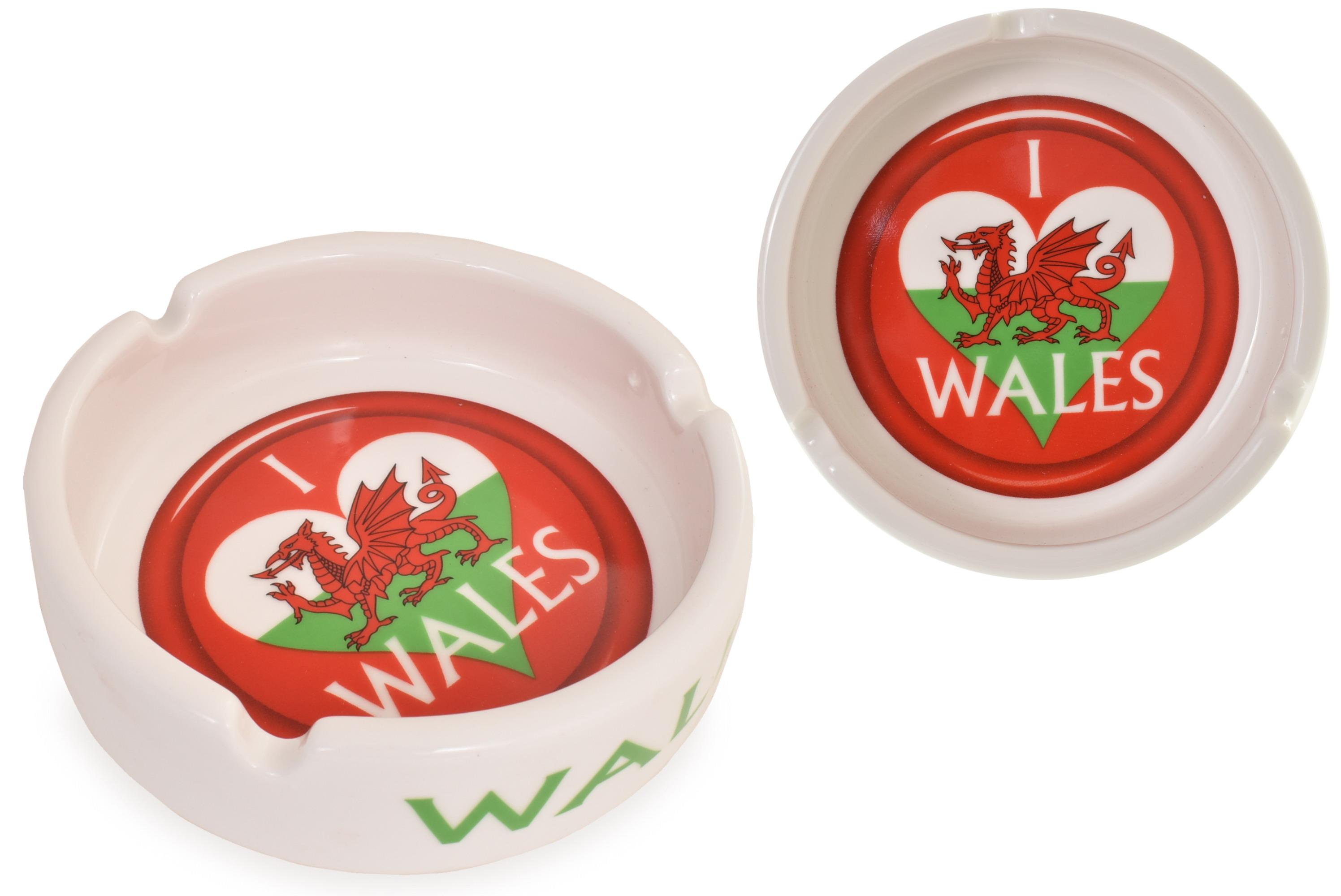 Ceramic Ashtray Wales Flag Design
