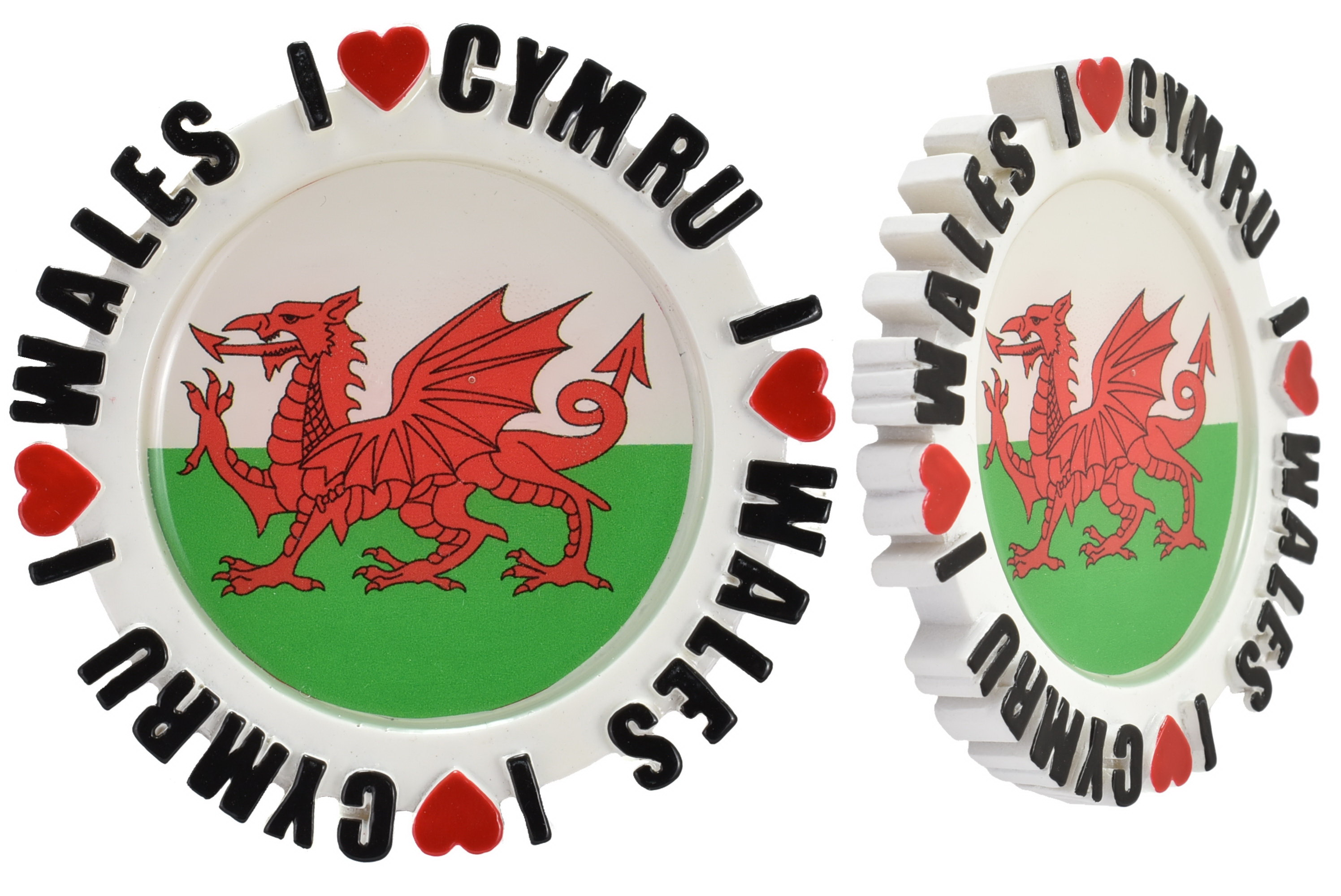 Round Resin Magnet Epoxy Dragon Picture I Love Wales