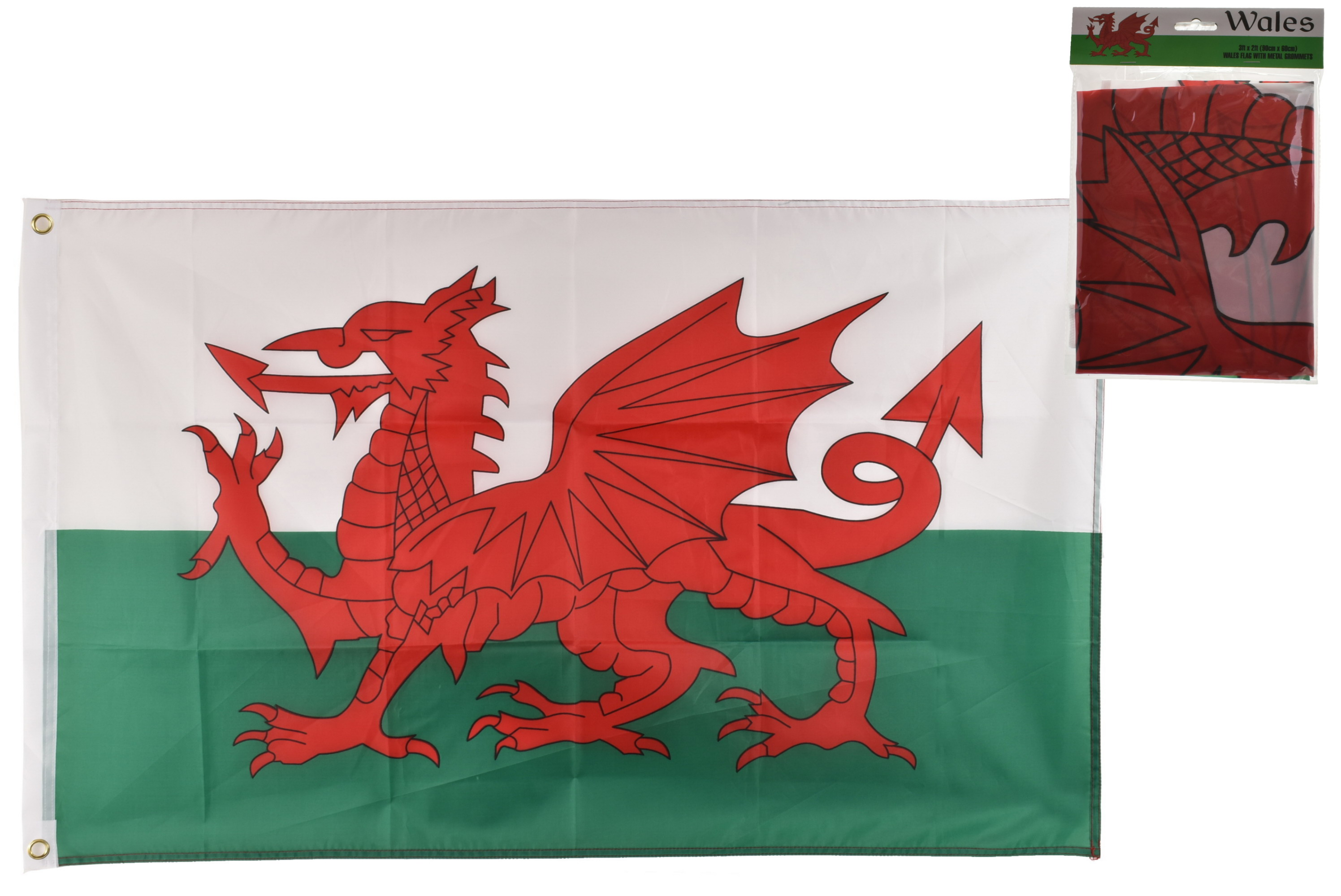 3' x 2' Wales Flag With Metal Grommets