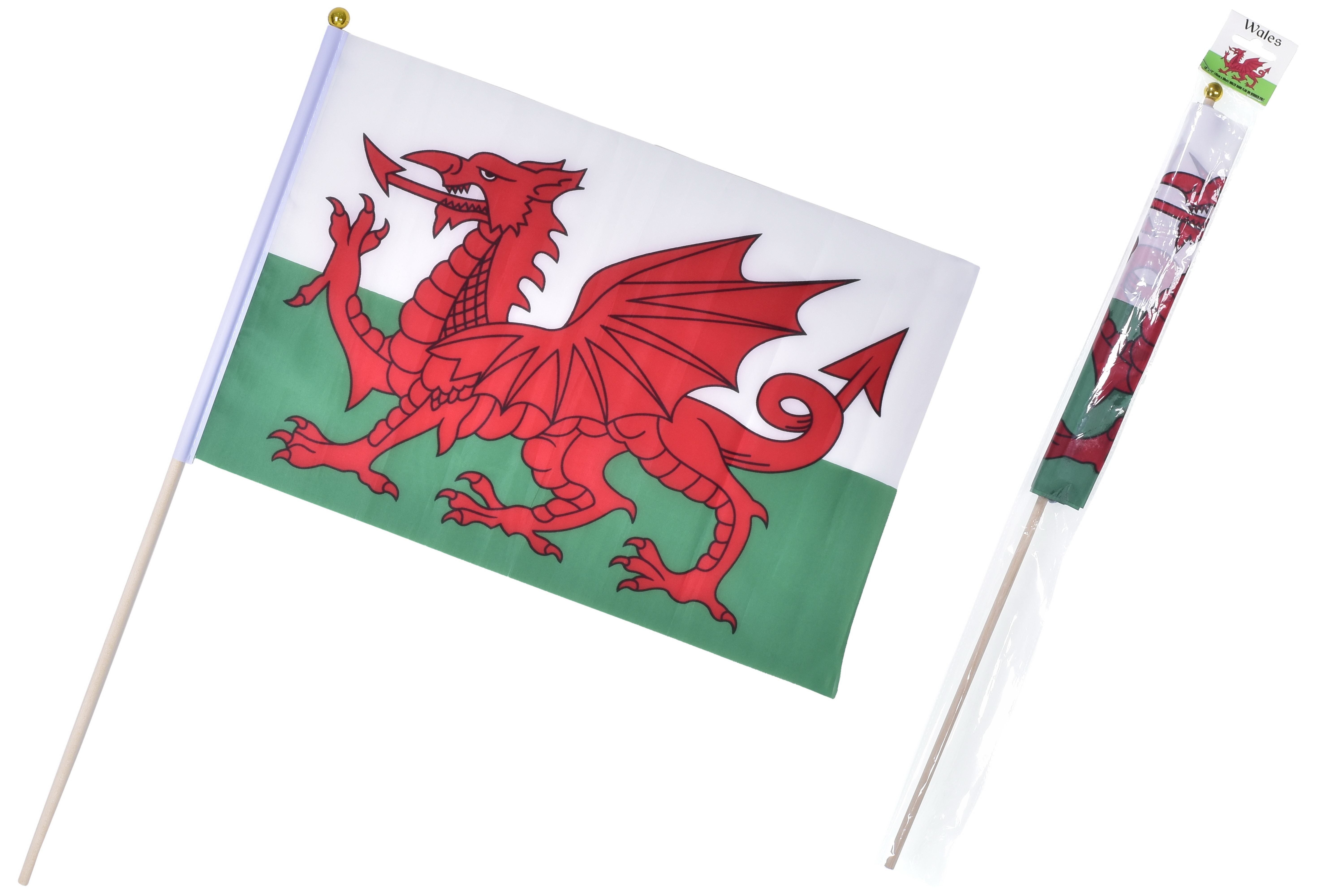 """18"""" x 12"""" Wales Hand Flag On Wooden Pole"""