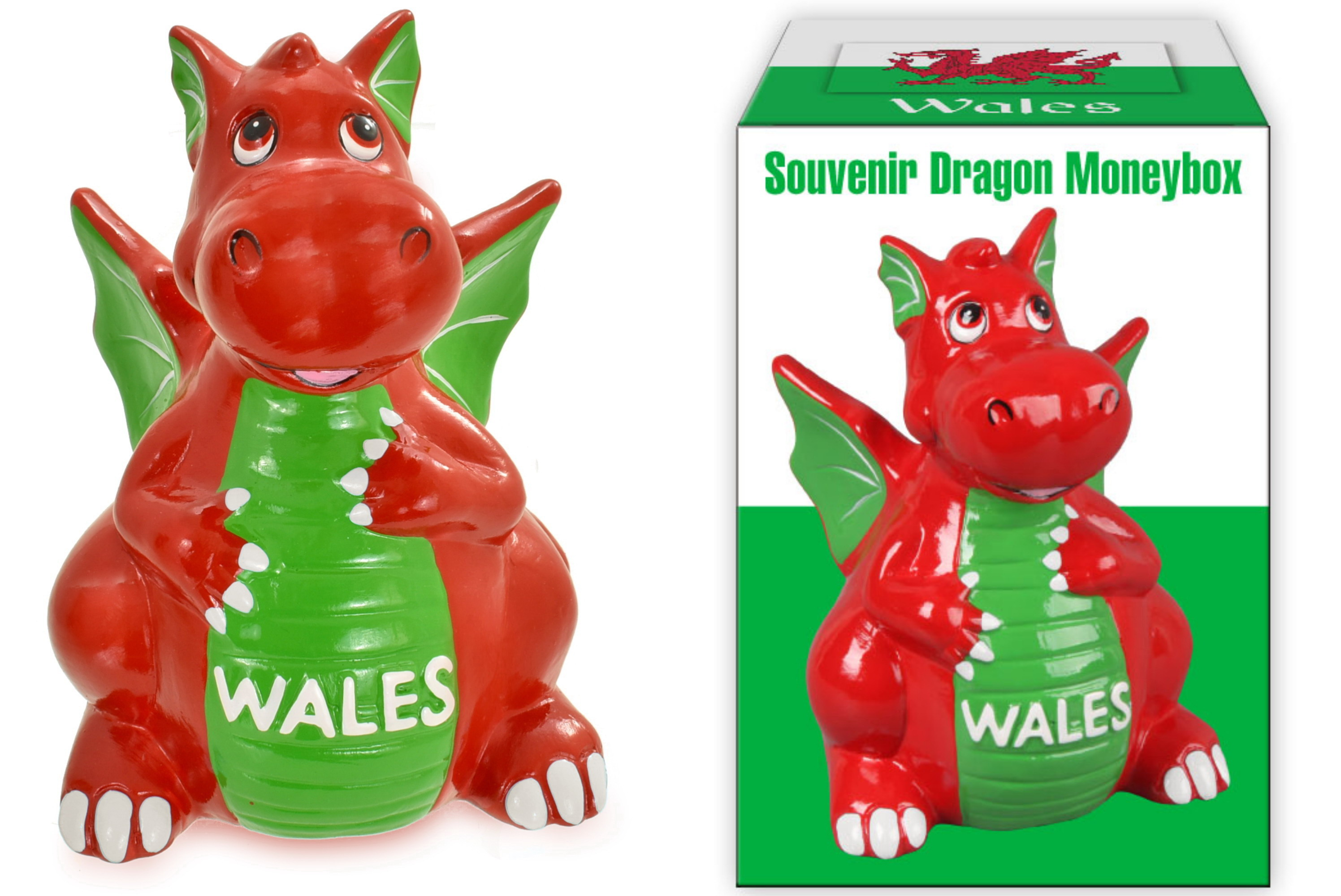 14cm Wales Dragon Moneybox In Colour Box