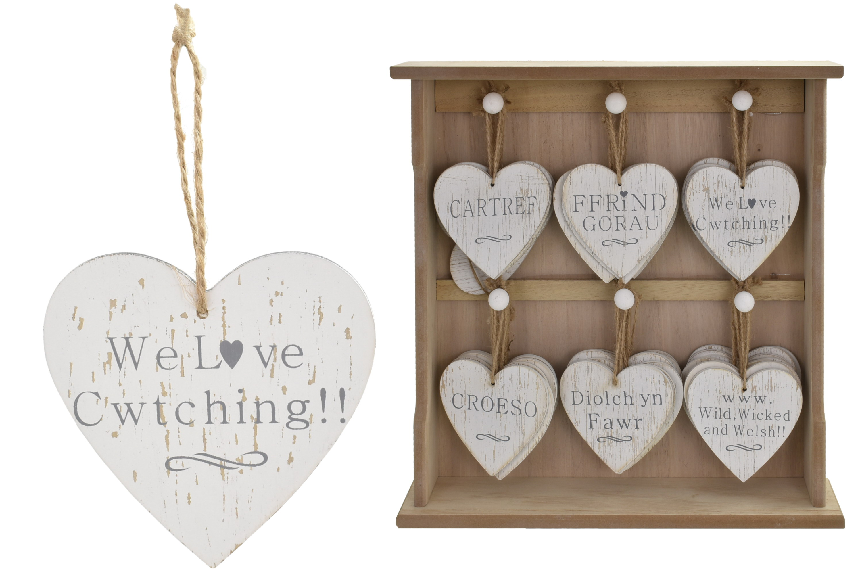 Welsh Heart Wooden Hanging Sign On Display Stand 6 Asst
