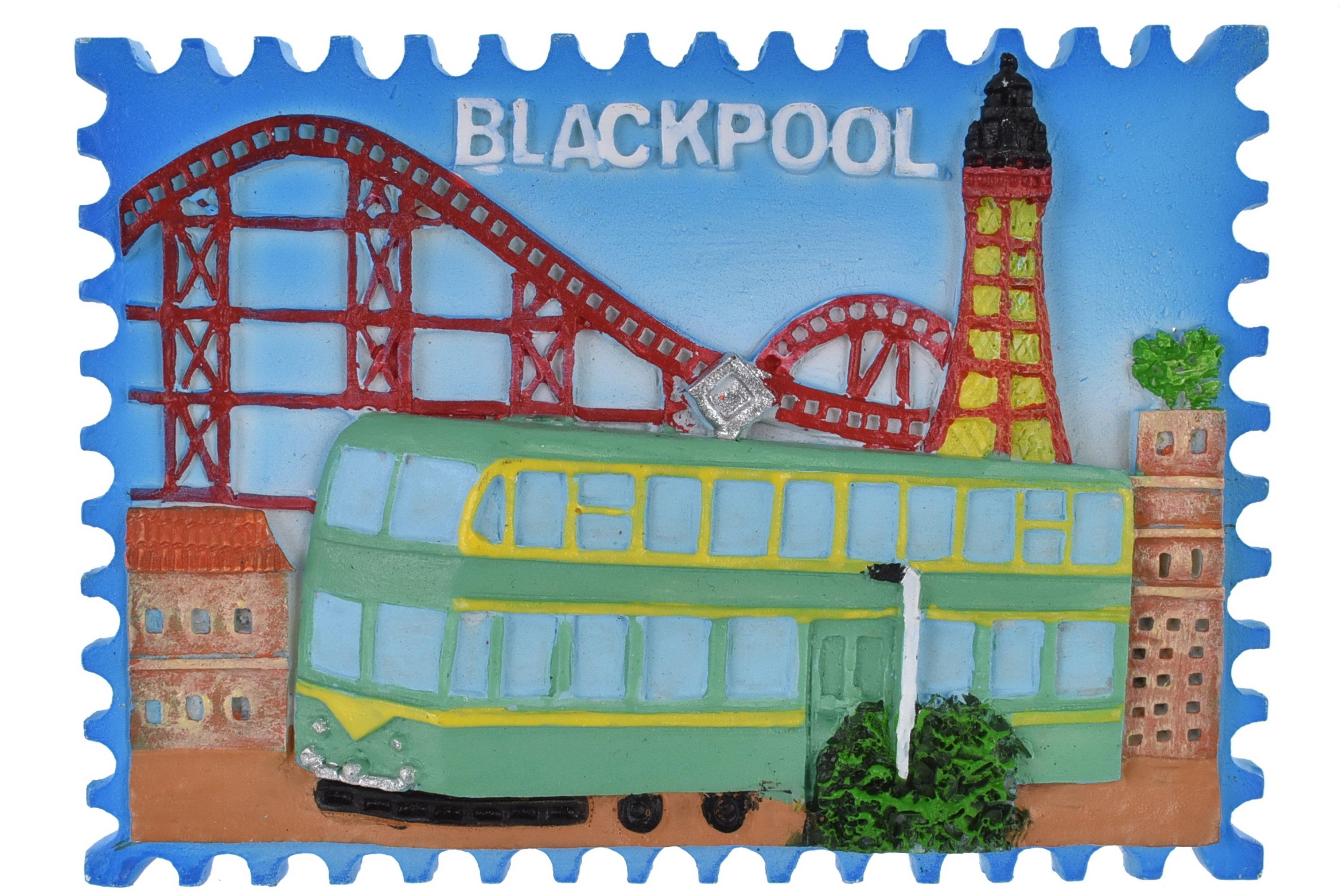 Resin Magnet Blackpool Tram Stamp Design