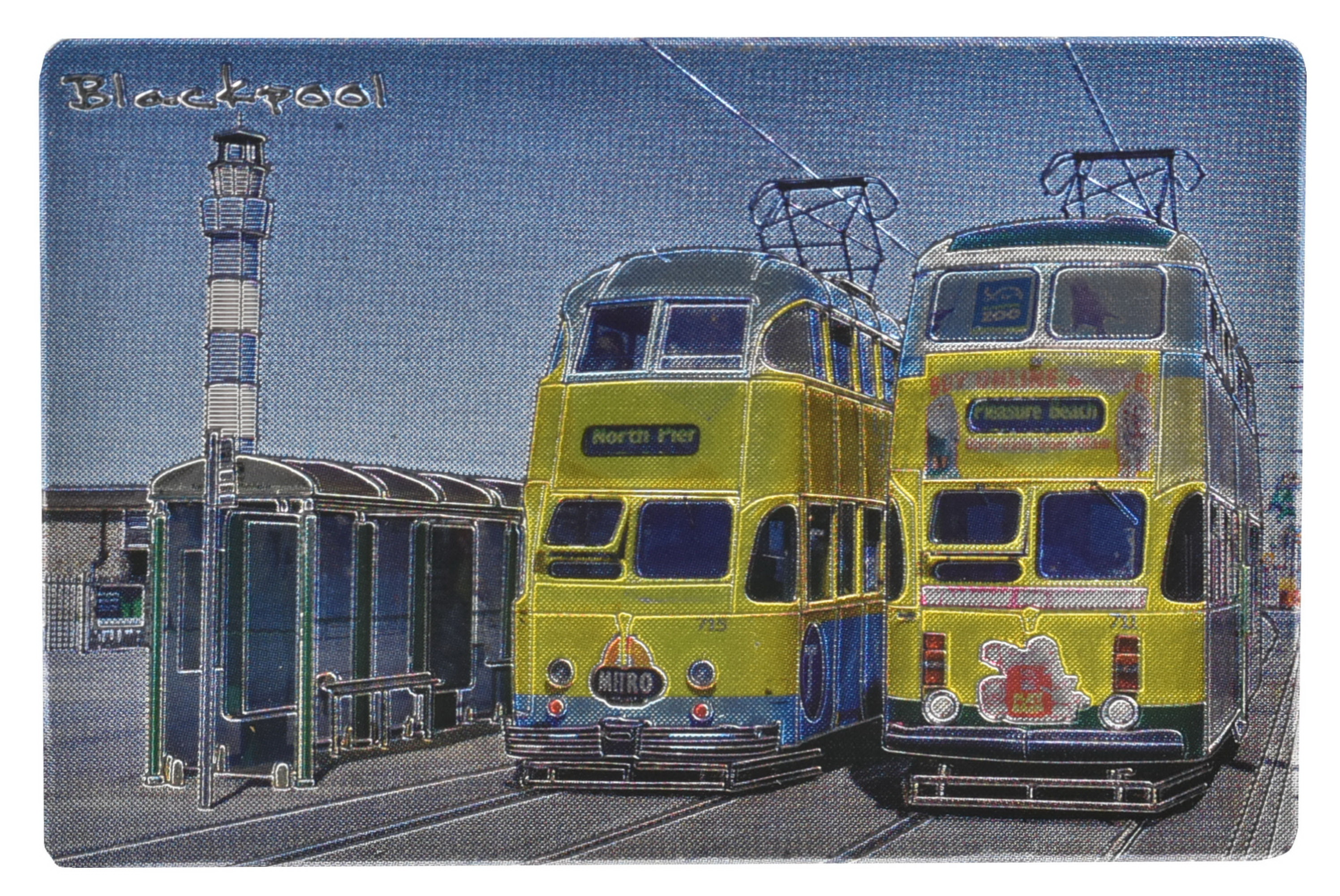Foil Magnet Blackpool Yellow Trams