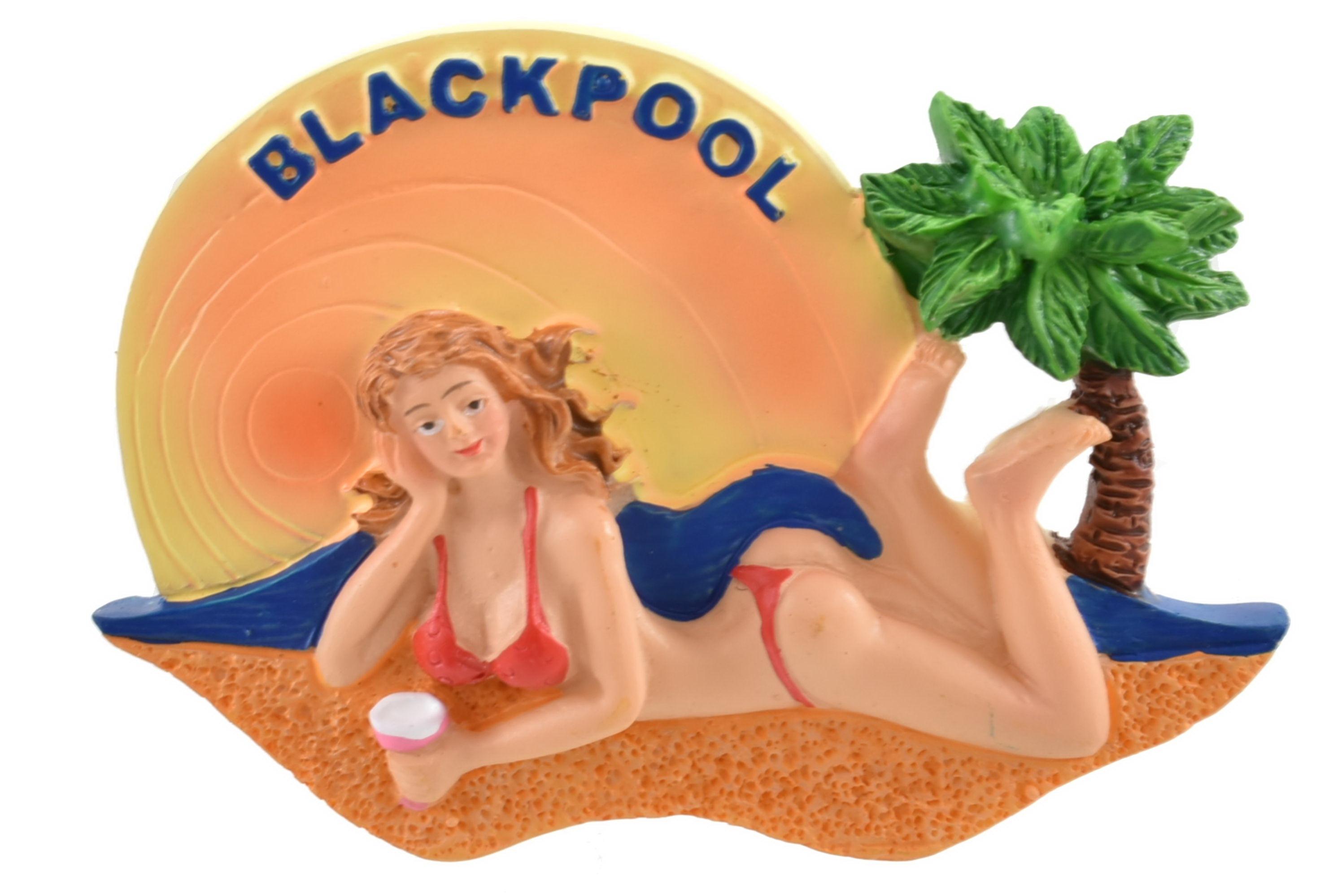 Blackpool Sunbathing Babe Resin Magnet