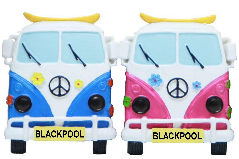 Blackpool Face On Campervan Resin Magnet 3 Asst