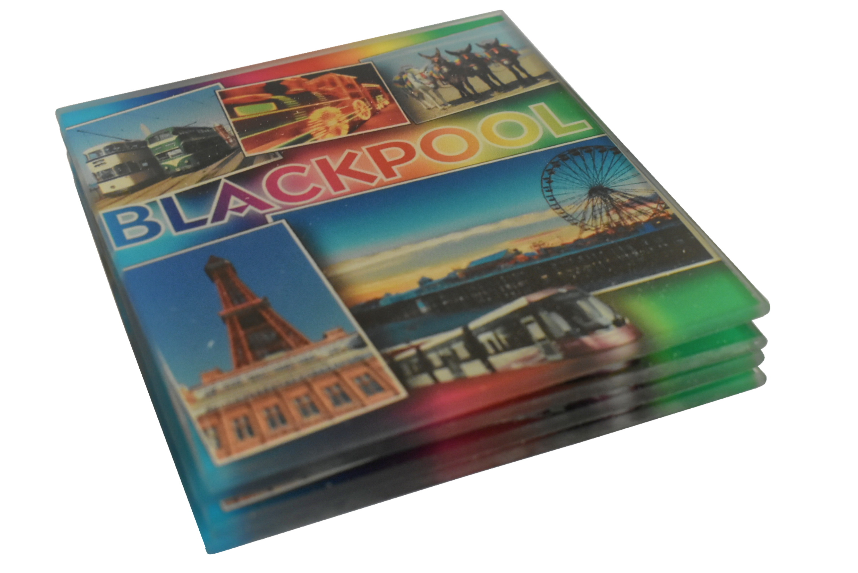 Blackpool Glass Coasters Scenes Design Set Of 4