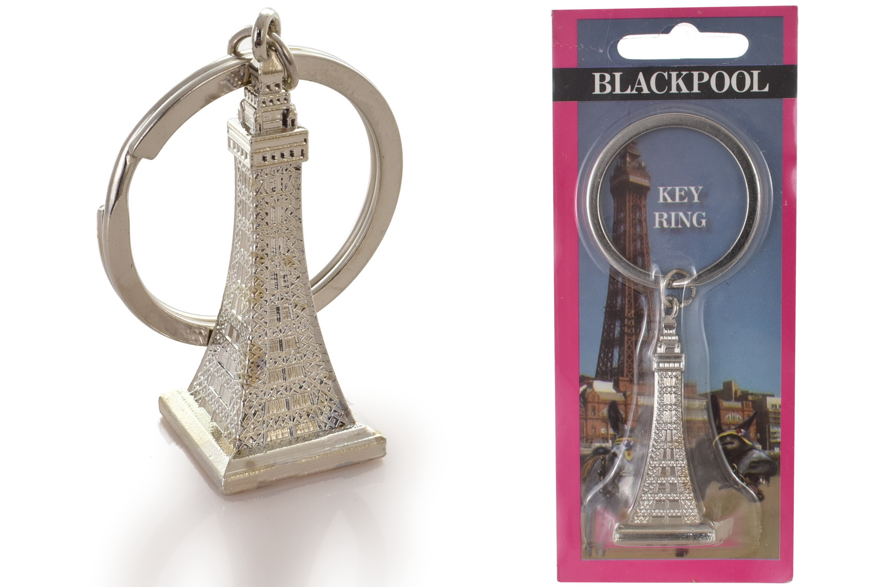 Blackpool Keyring Silver Tower Carded
