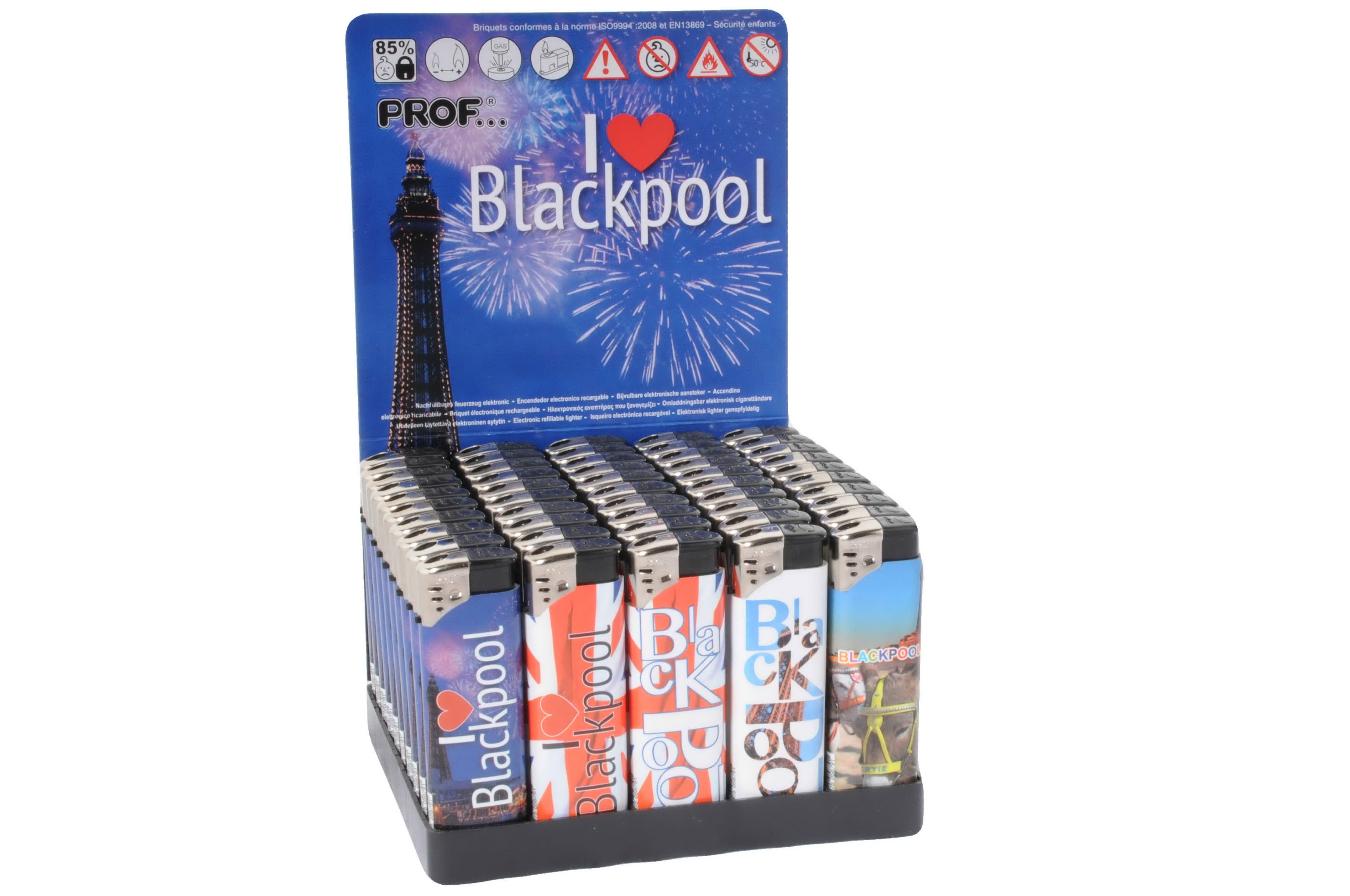 Blackpool Souvenir Lighter In Display Tray  Assorted