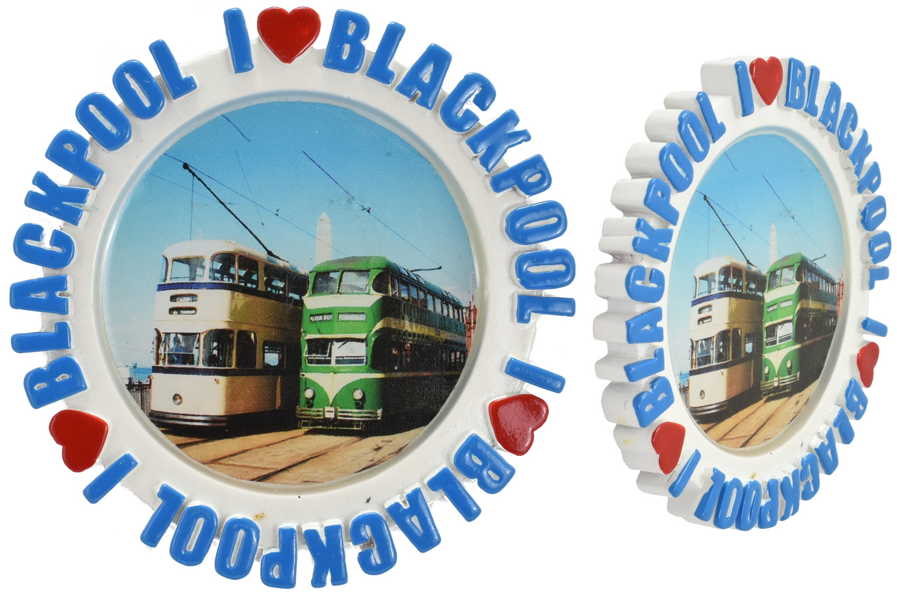 Round Resin Magnet Epoxy Tram Picture I L Blackpool