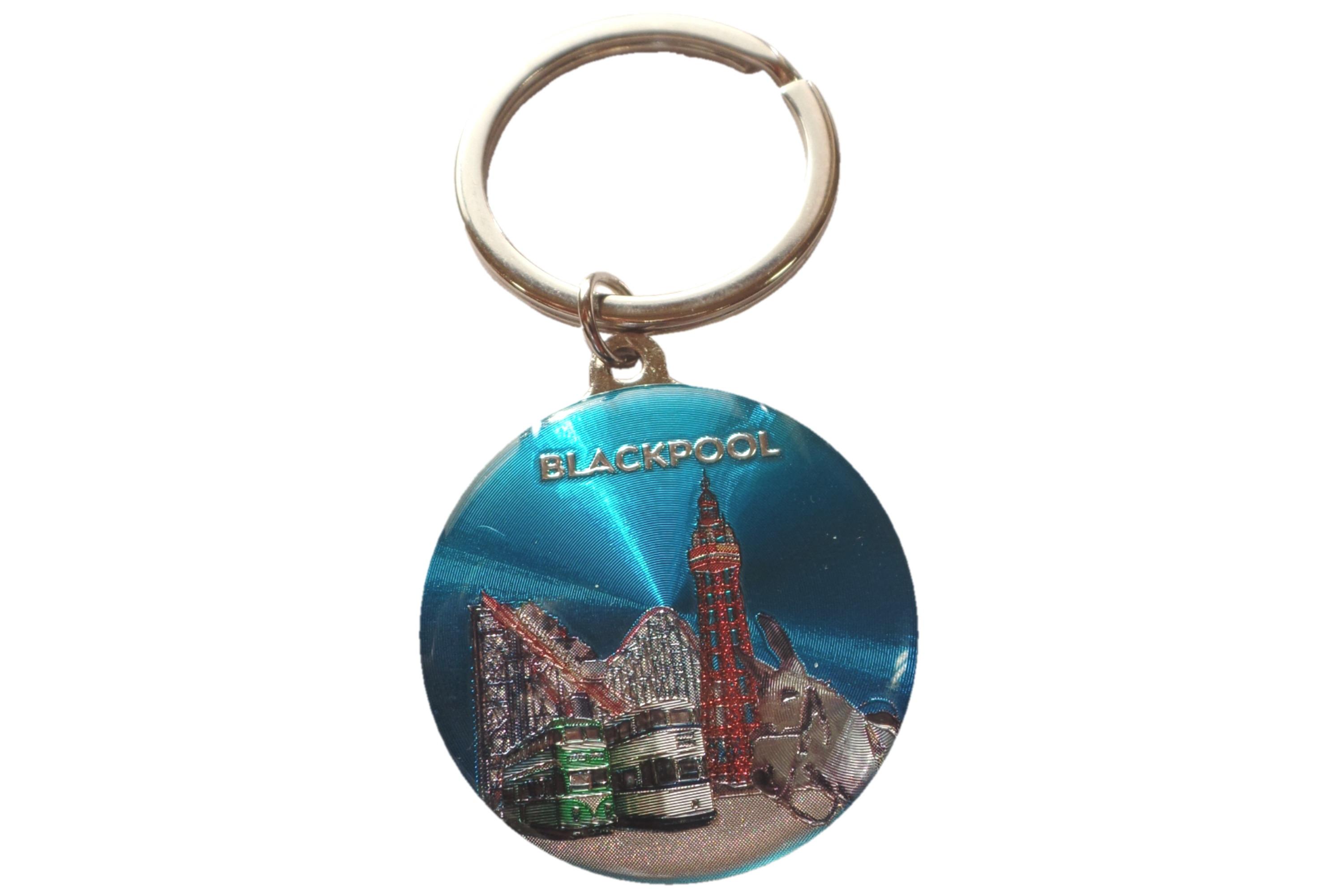 Blackpool Scene Round Epoxy Keyring Metallic Finish 4cm