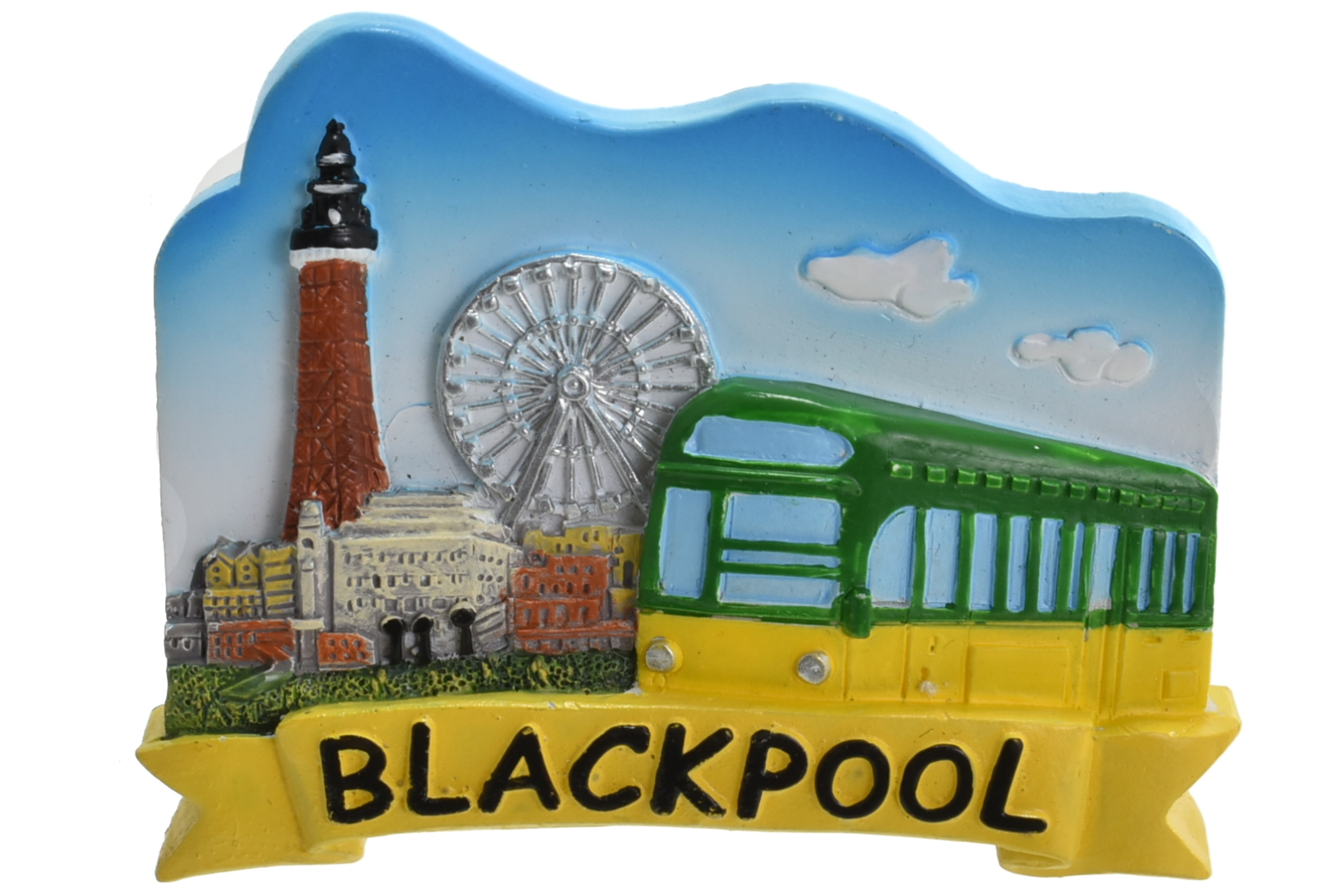 Blackpool Tower Wheel Tram Sky Background Magnet
