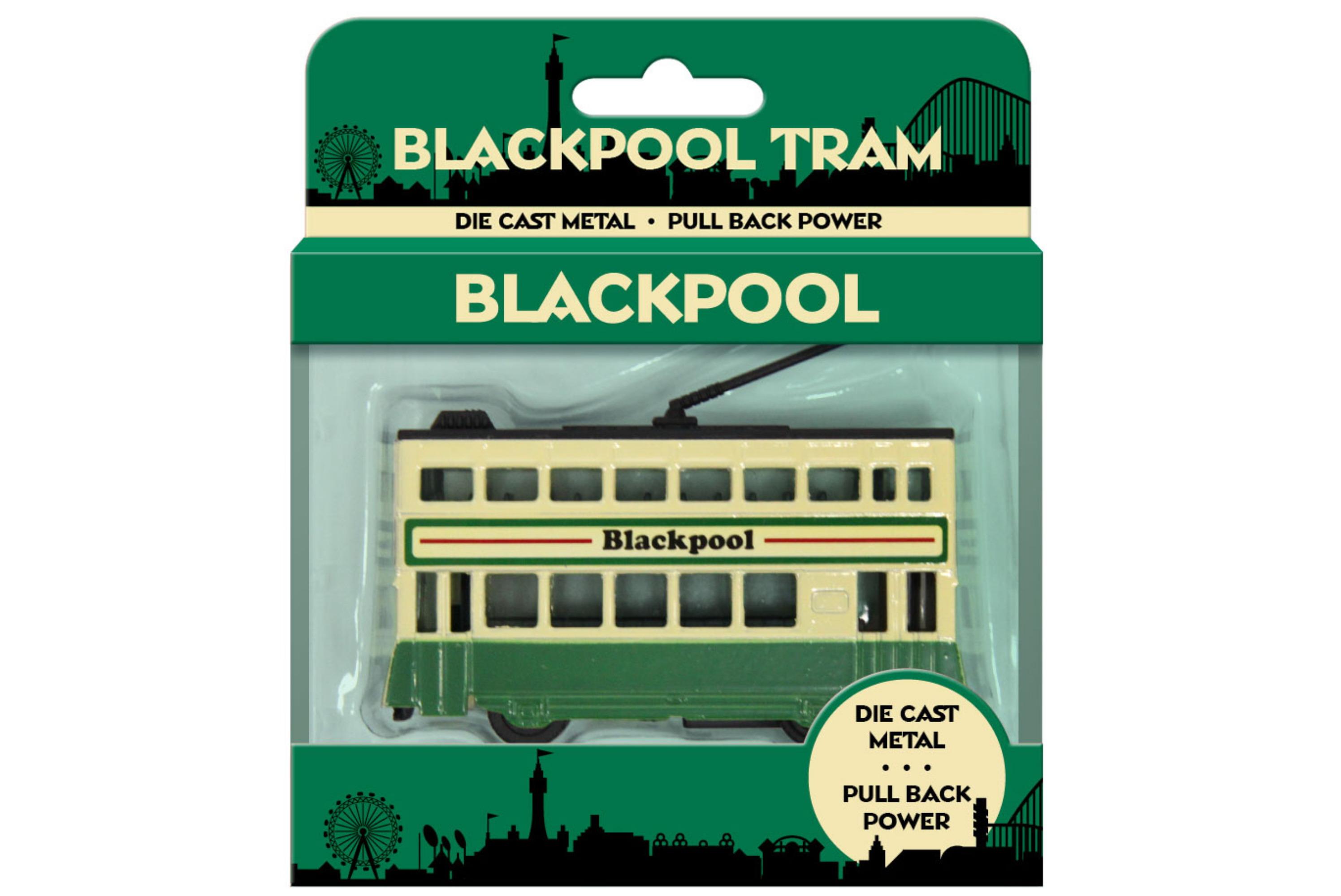 10x7.5cm Small Die Cast Tram Green/Cream In Open T/Box