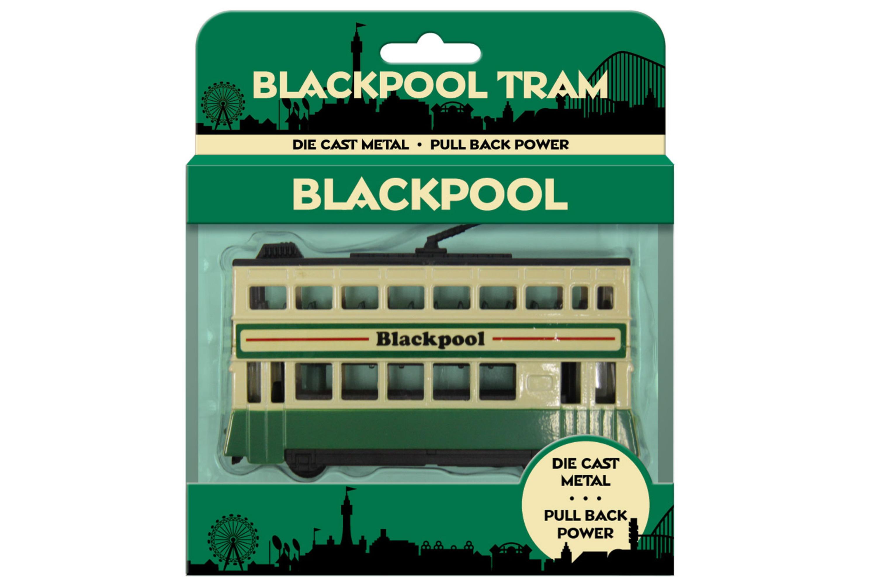 13x10.5cm Large Die Cast Tram Green/Cream In Open T/Box