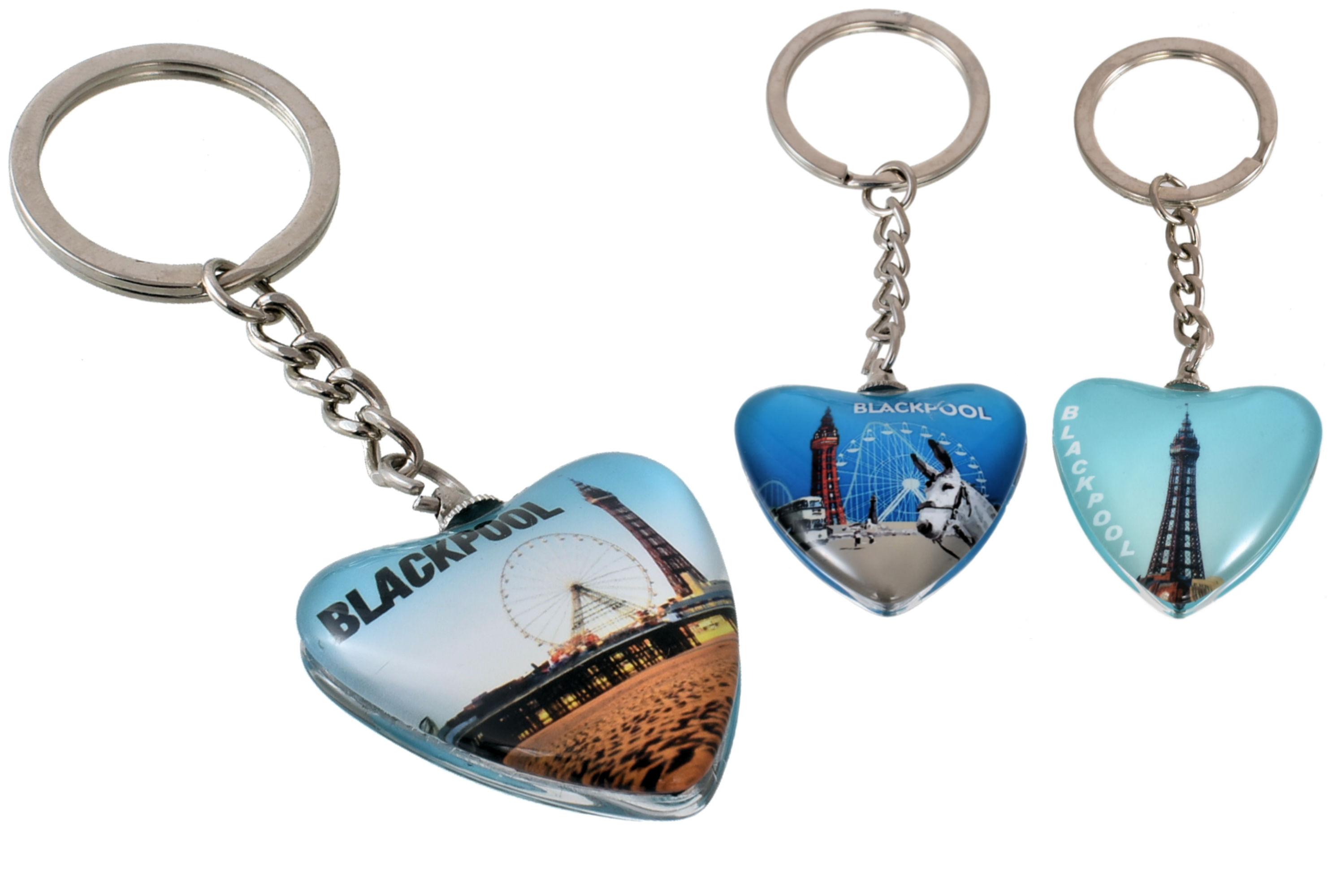 Blackpool Glass Heart Keyring 3 Assorted Designs